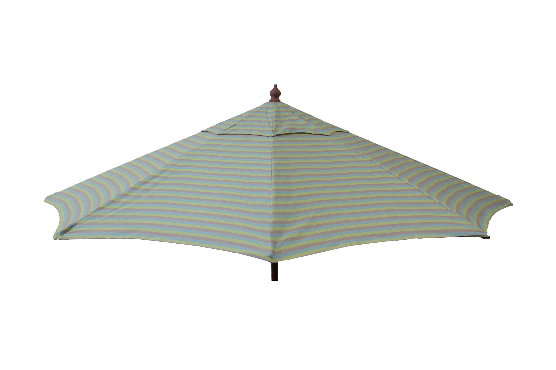 DestinationGear Euro 9 ft Patio Umbrella Tri Color Stripe Sea Blue/Taupe/Olive PartNumber: 07150656000P KsnValue: 9508690 MfgPartNumber: 1440