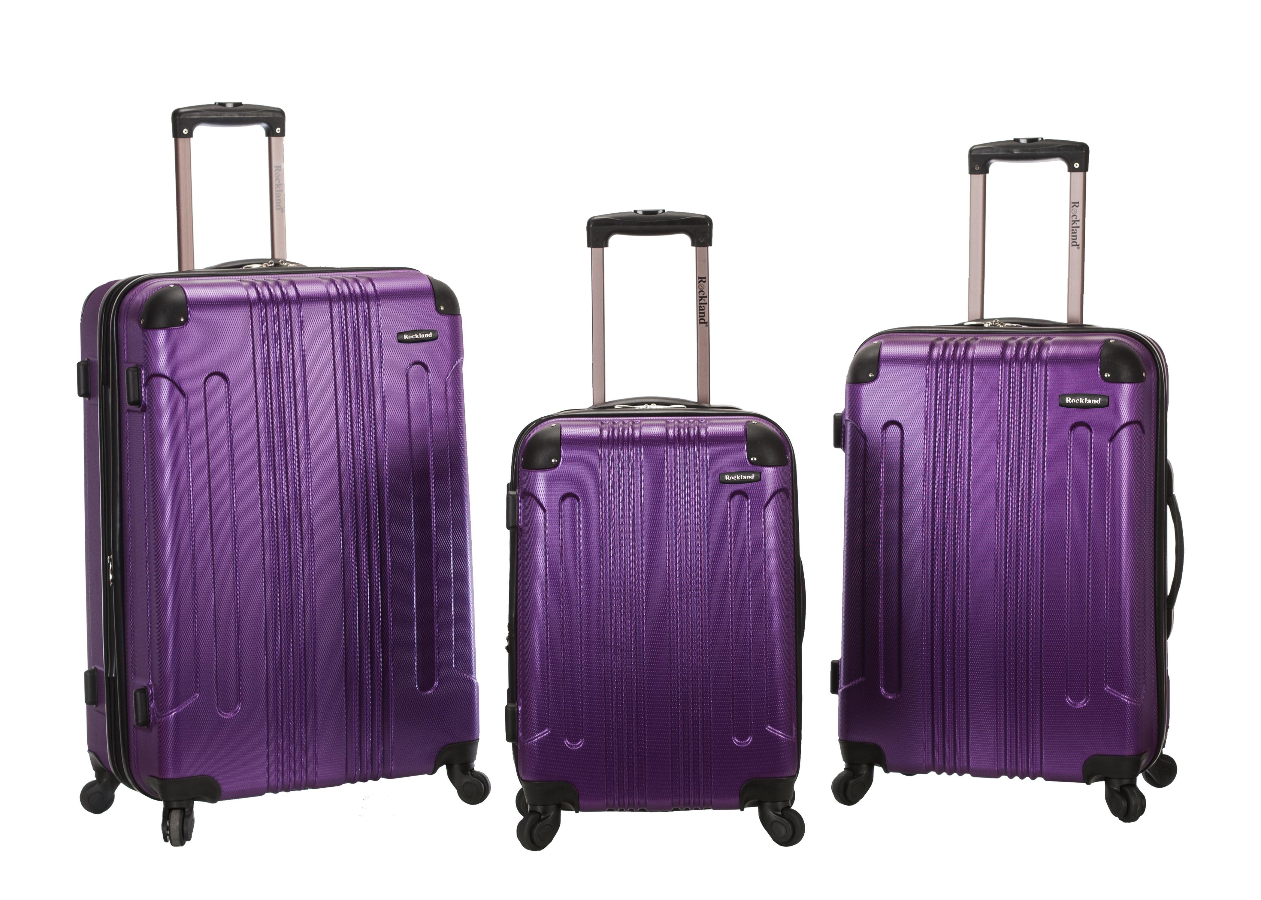 Rockland 3 pc. Sonic Hardside Spinner Upright Set- Purple