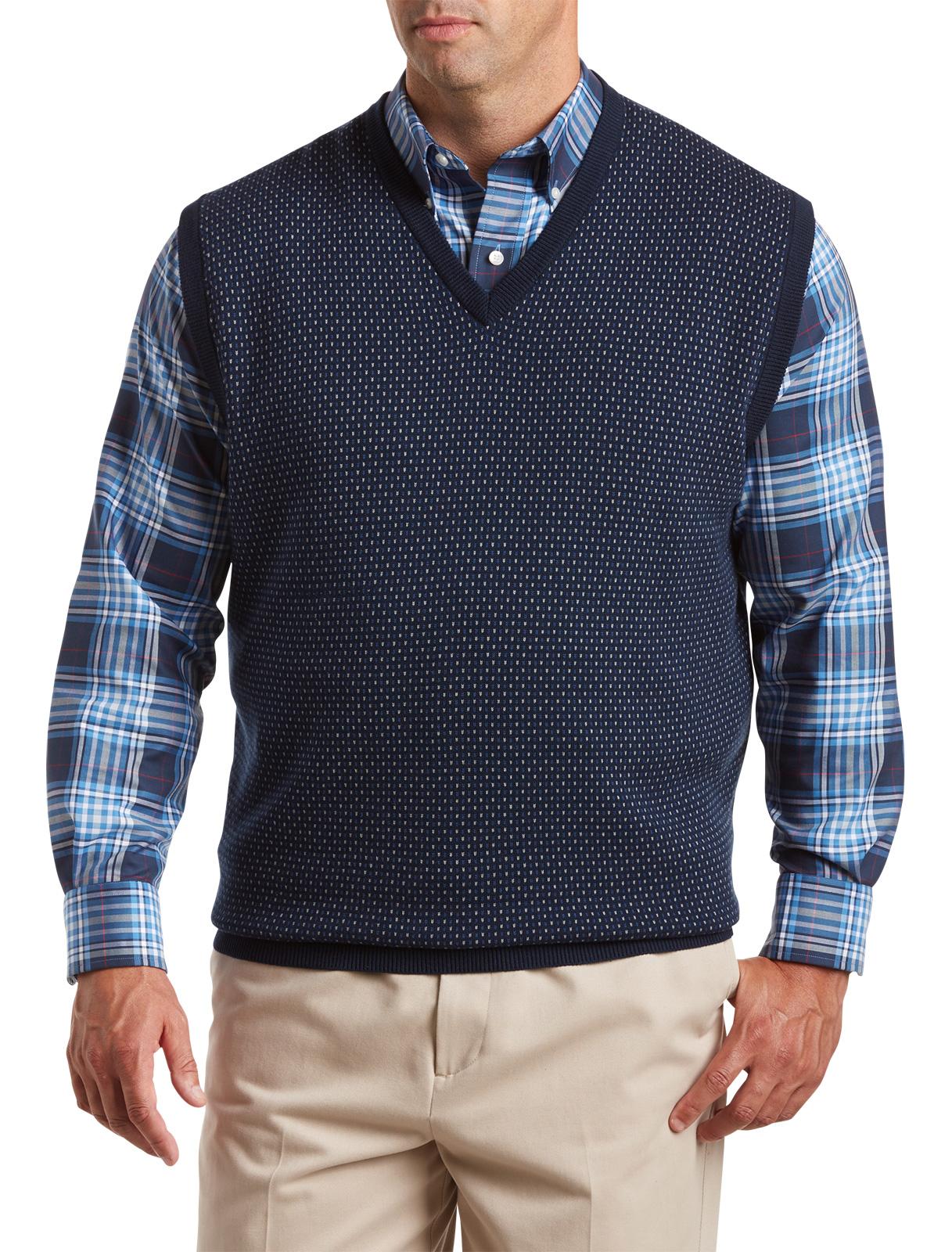 Oak Hill Men's Big and Tall Patterned V-Neck Vest