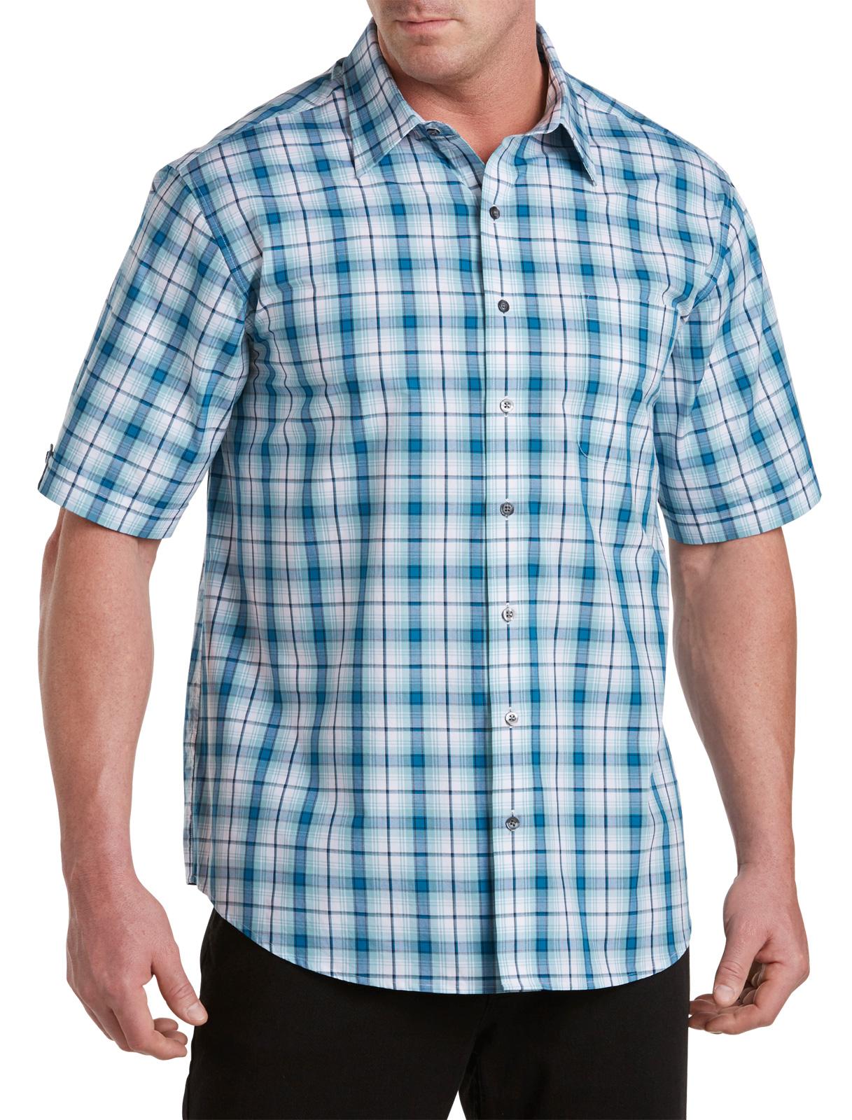 Synrgy Men's Big and Tall Medium Plaid Sport Shirt