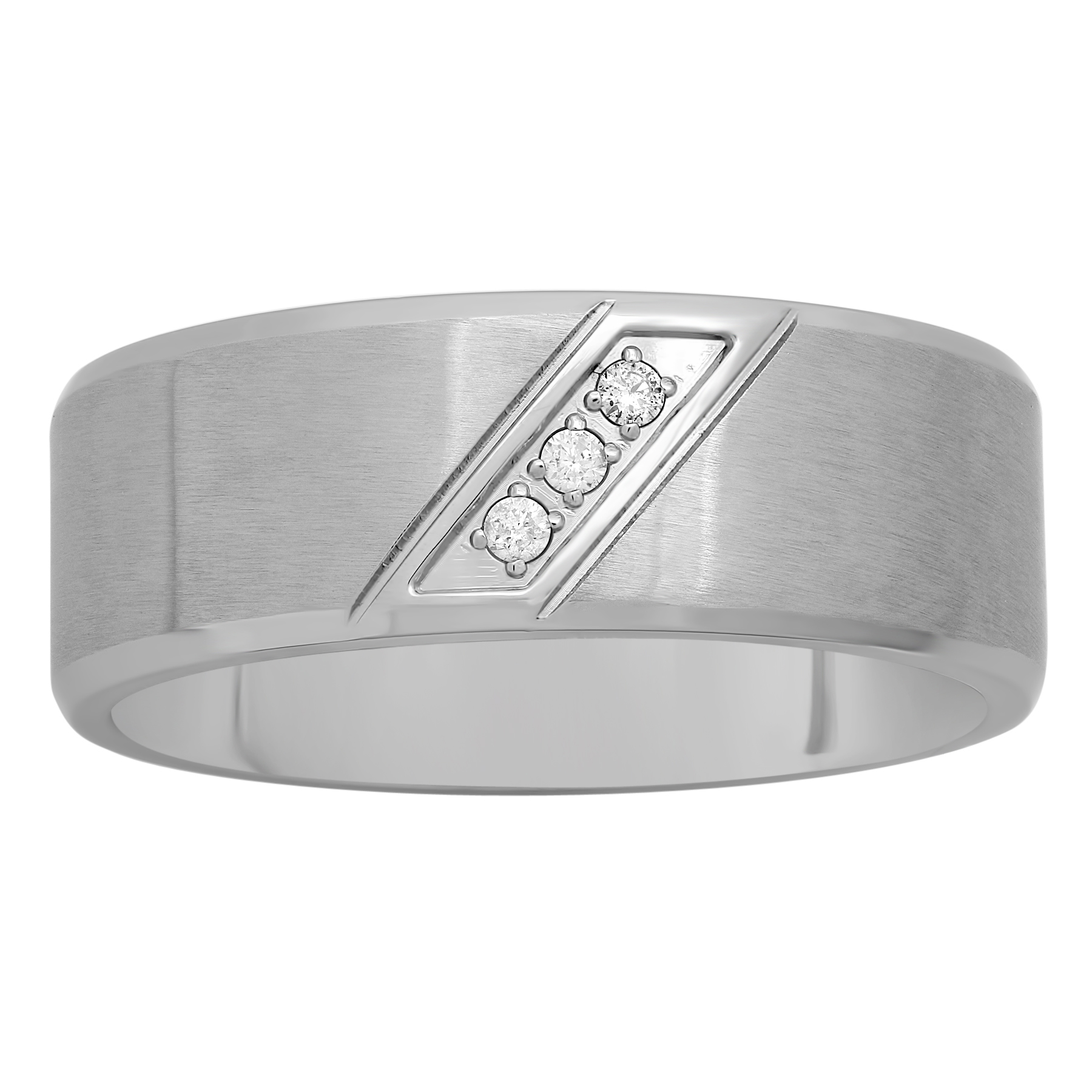 Stainless Steel Diamond Accent Slant 8MM Band PartNumber: 3ZZVA98307912P MfgPartNumber: TS5021/6