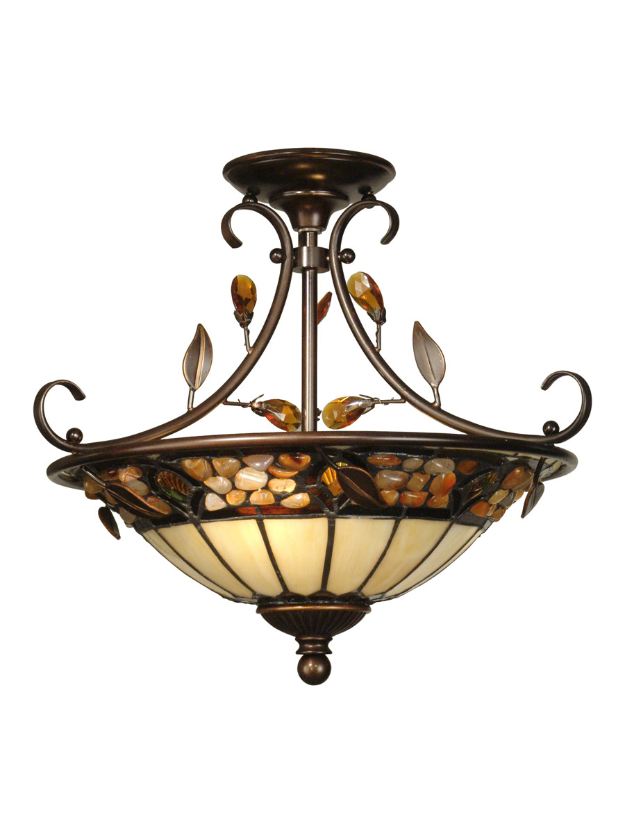 Image of Dale Tiffany Pebble Stone Hanging Fixture, Beige & Tan