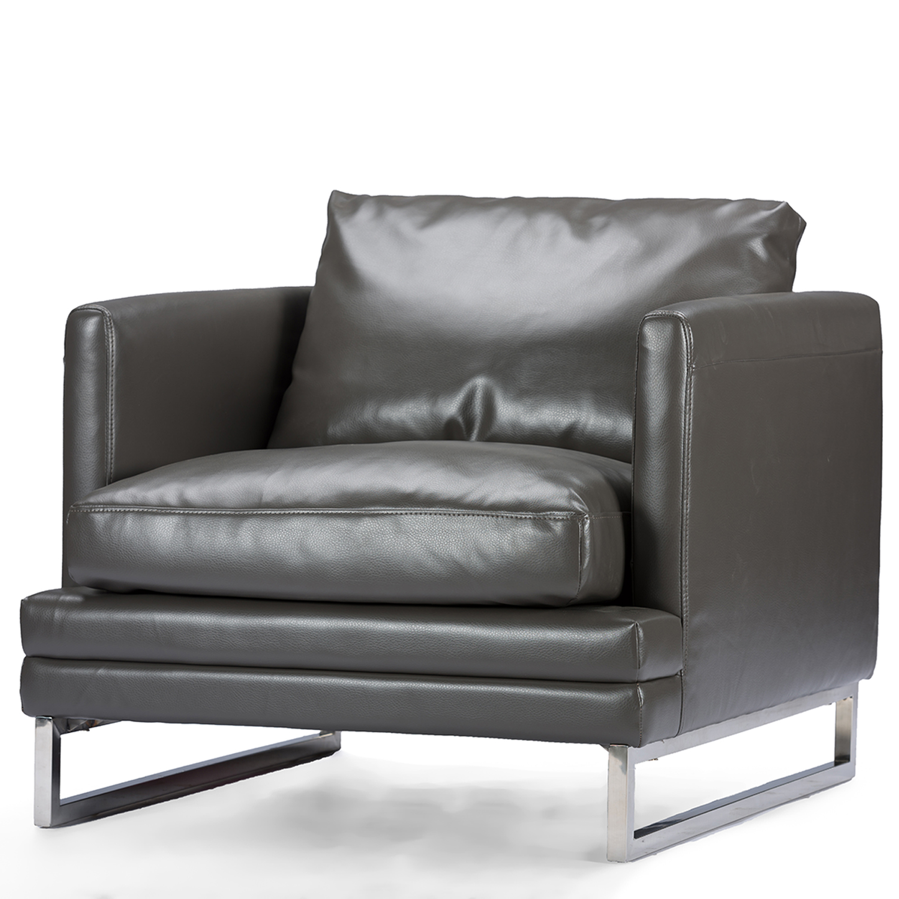 Baxton Studio Dakota Pewter Gray Leather Modern Chair PartNumber: 00816070000P KsnValue: 00816070000 MfgPartNumber: 1378-DU8145-Chair