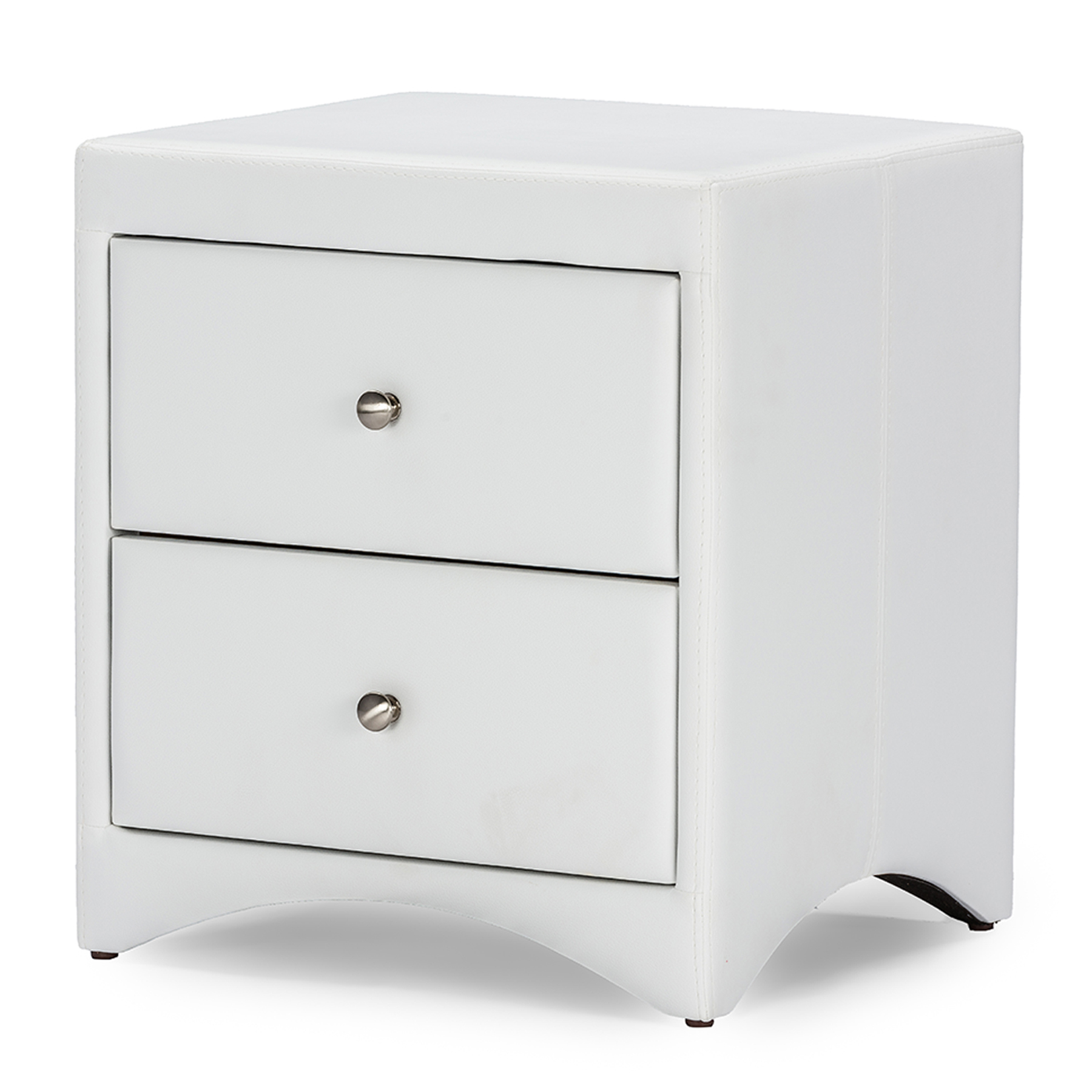 Image of Baxton Studio Dorian White Faux Leather Upholstered Modern Nightstand