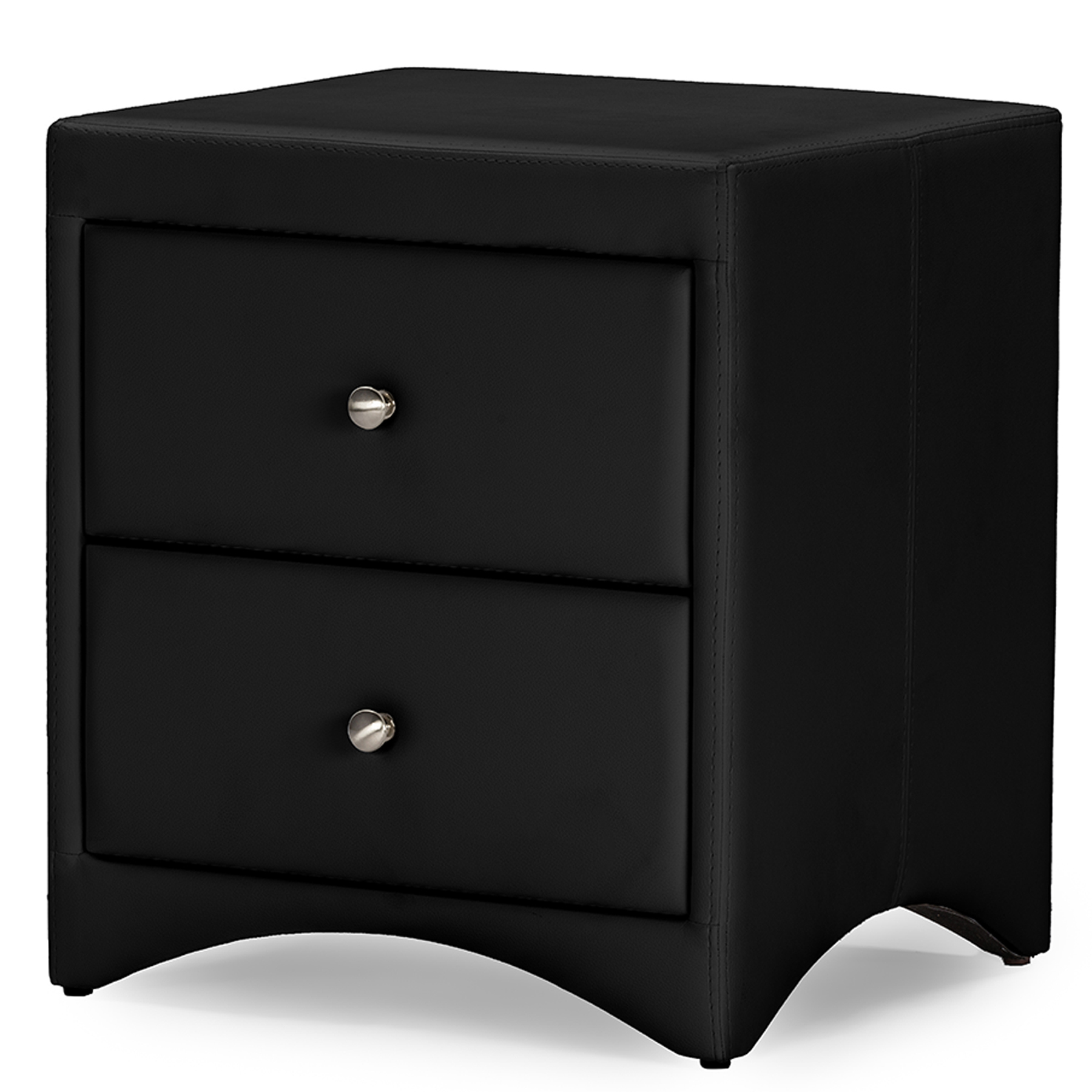 Image of Baxton Studio Dorian Black Faux Leather Upholstered Modern Nightstand