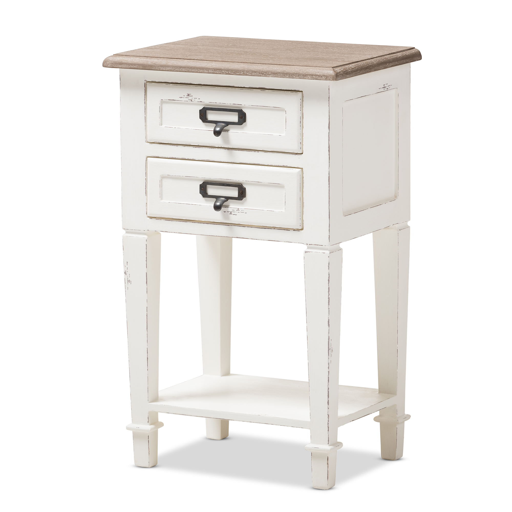Image of Baxton Studio Dauphine Provincial Style Weathered Oak and White Wash Distressed Finish Wood Nightstand