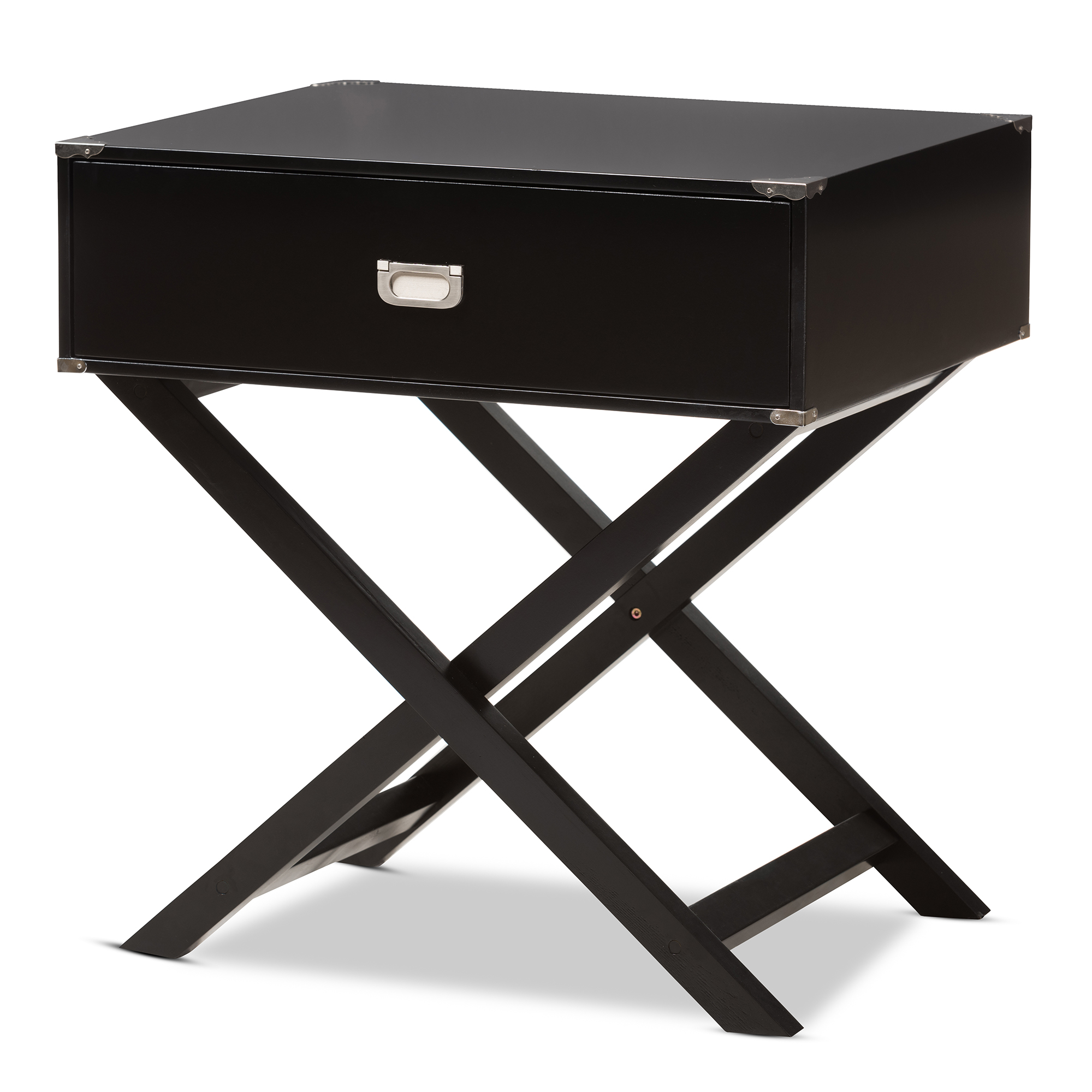 Image of Baxton Studio Curtice Modern And Contemporary 1-Drawer Wooden Bedside Table, Black