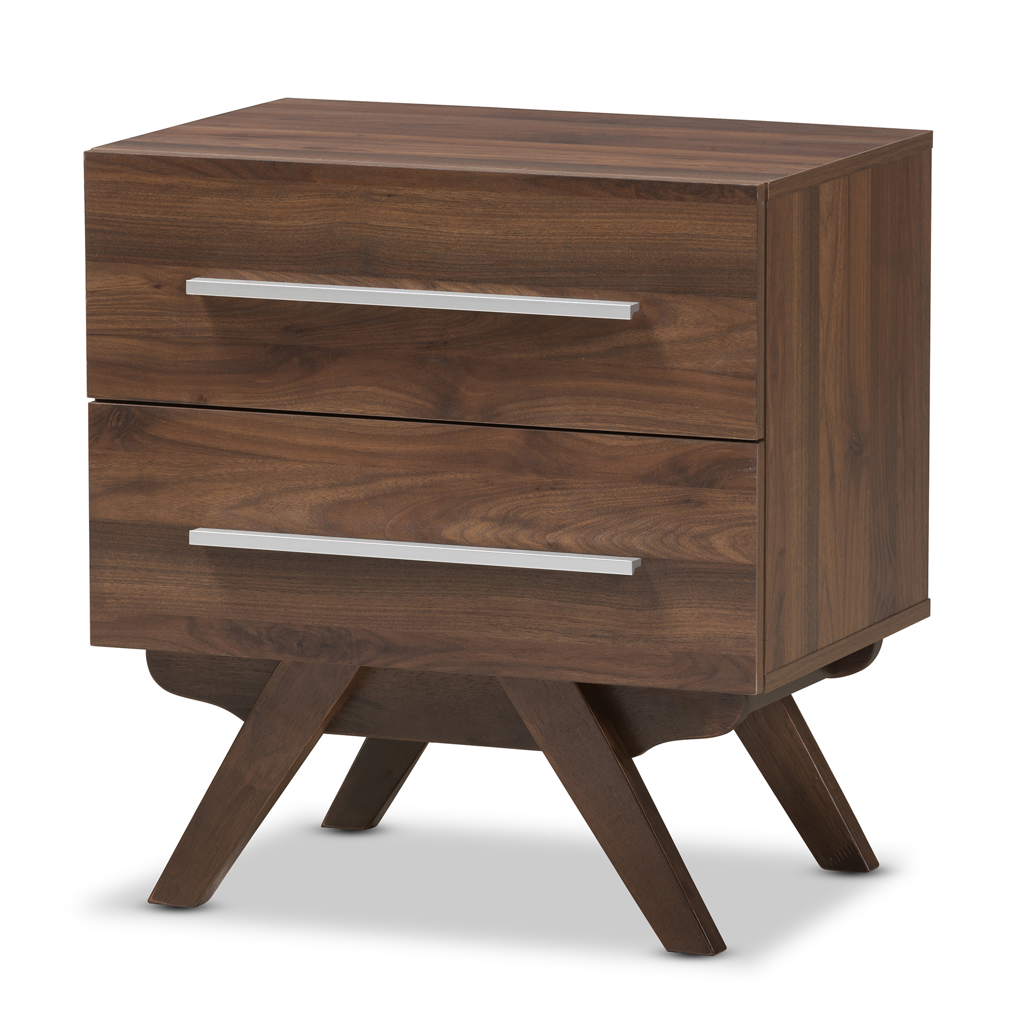 Image of Baxton Studio Auburn Mid-Century Modern Finished Wood 2-Drawer Nightstand, Dark Brown