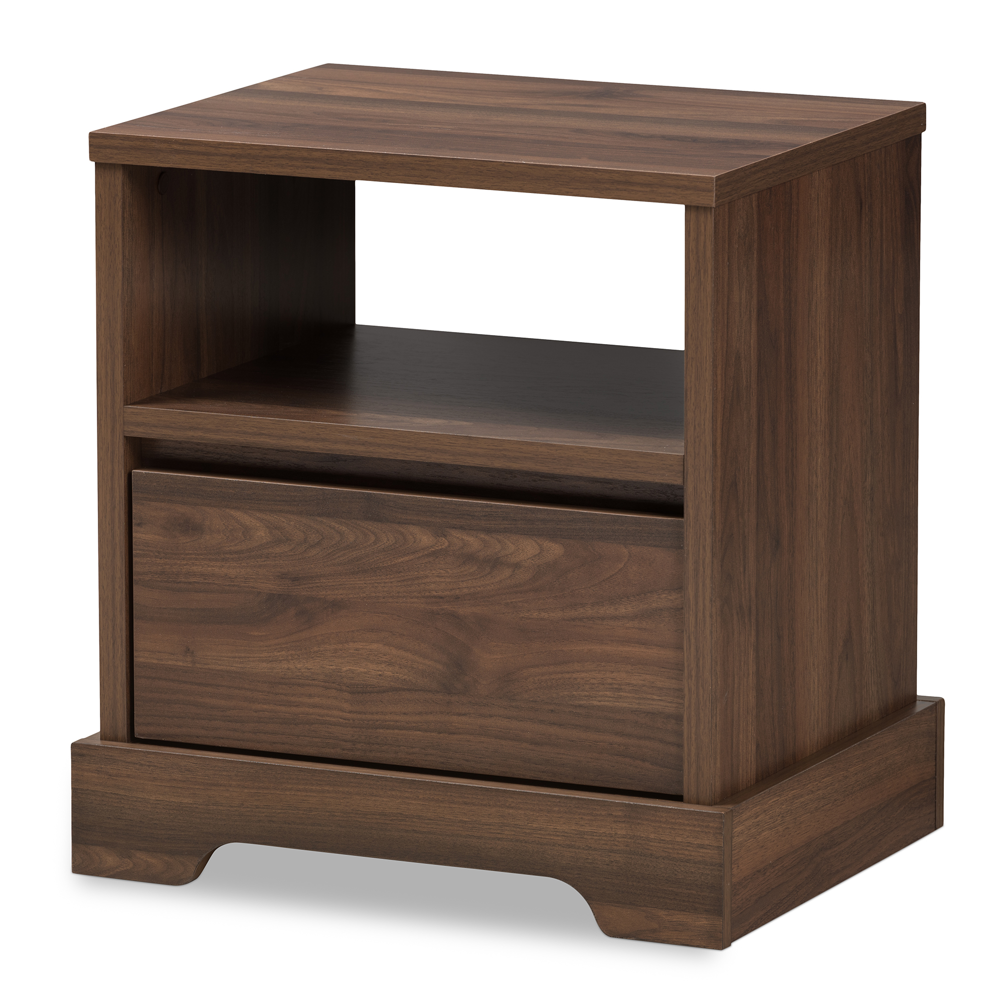 Image of Baxton Studio Burnwood Modern and Contemporary Walnut Brown Finished Wood 1-Drawer Nightstand