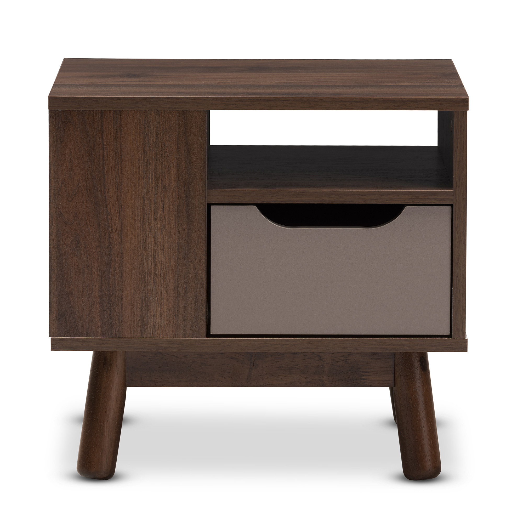 Image of Baxton Studio Britta 1-Drawer Retro Wood Nightstand - Brown/Gray