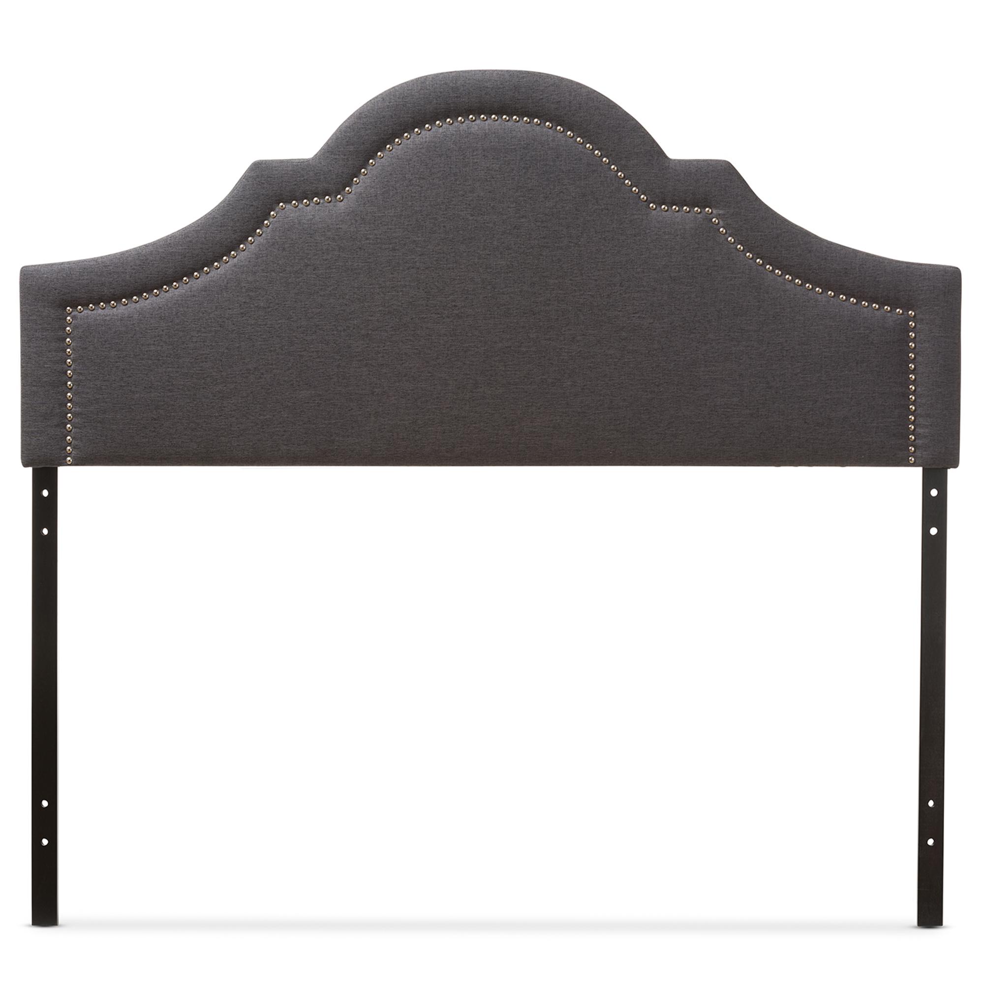 Baxton Studio Rita Modern and Contemporary Dark Grey Fabric Upholstered Queen Size Headboard