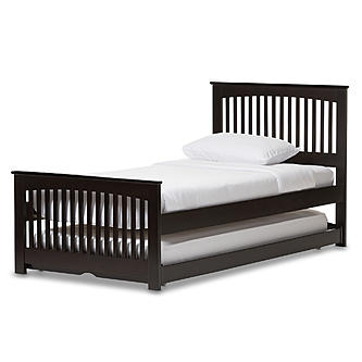 Awe Inspiring Baxton Studio Baxton Studio Hevea Twin Size Dark Brown Solid Wood Platform Bed With Guest Trundle Bed Beatyapartments Chair Design Images Beatyapartmentscom