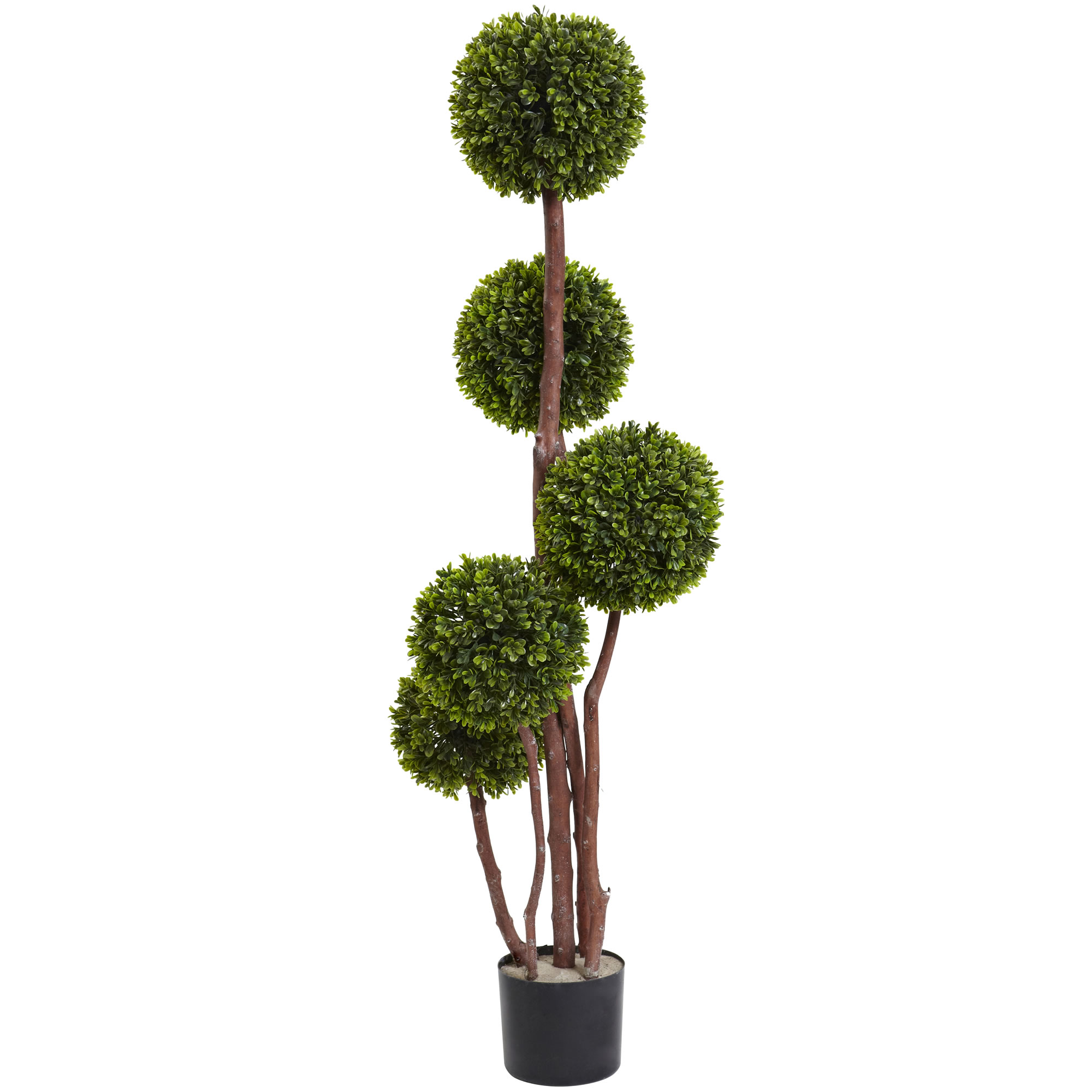 Image of SIERRA ACCESSORIES 4' Boxwood Topiary x5 w/420 Leaves UV Resistant (Indoor/Outdoor), Green