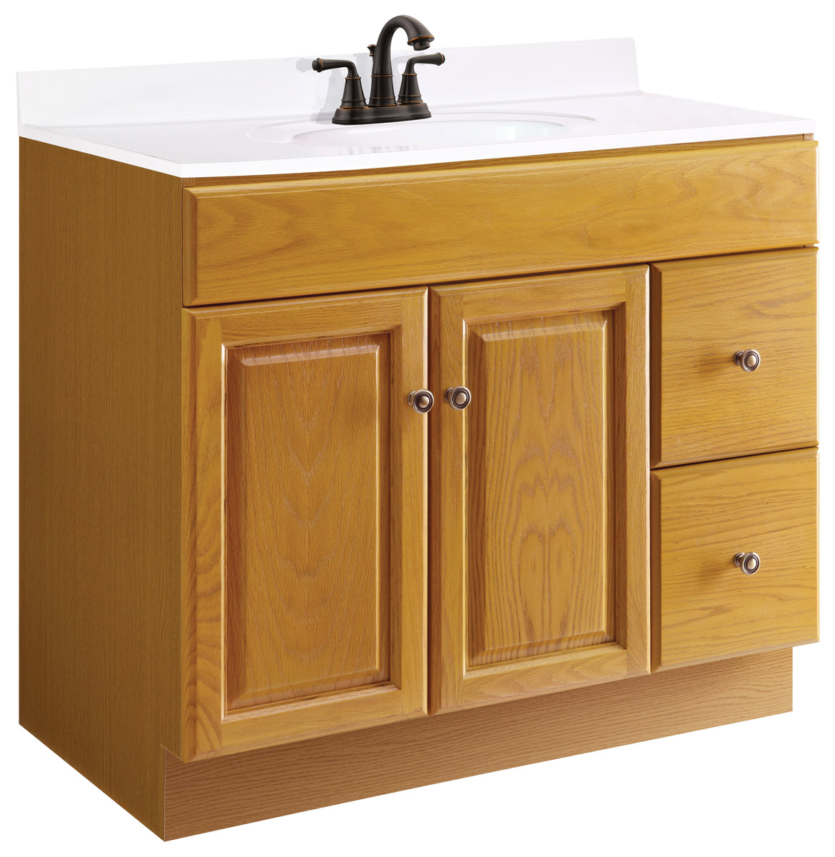 Design House 545186 Claremont Honey Oak Vanity Cabinet with 2-Doors and 2-Drawers 36-Inches by 21-Inches by 31.5-Inches