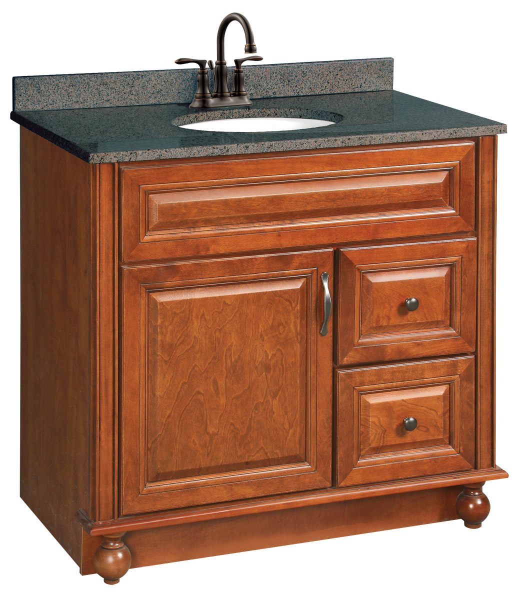 Design House 538553 Montclair Chestnut Glaze Vanity Cabinet with 1-Door and 2-Drawers 36-Inches by 33.5-Inches
