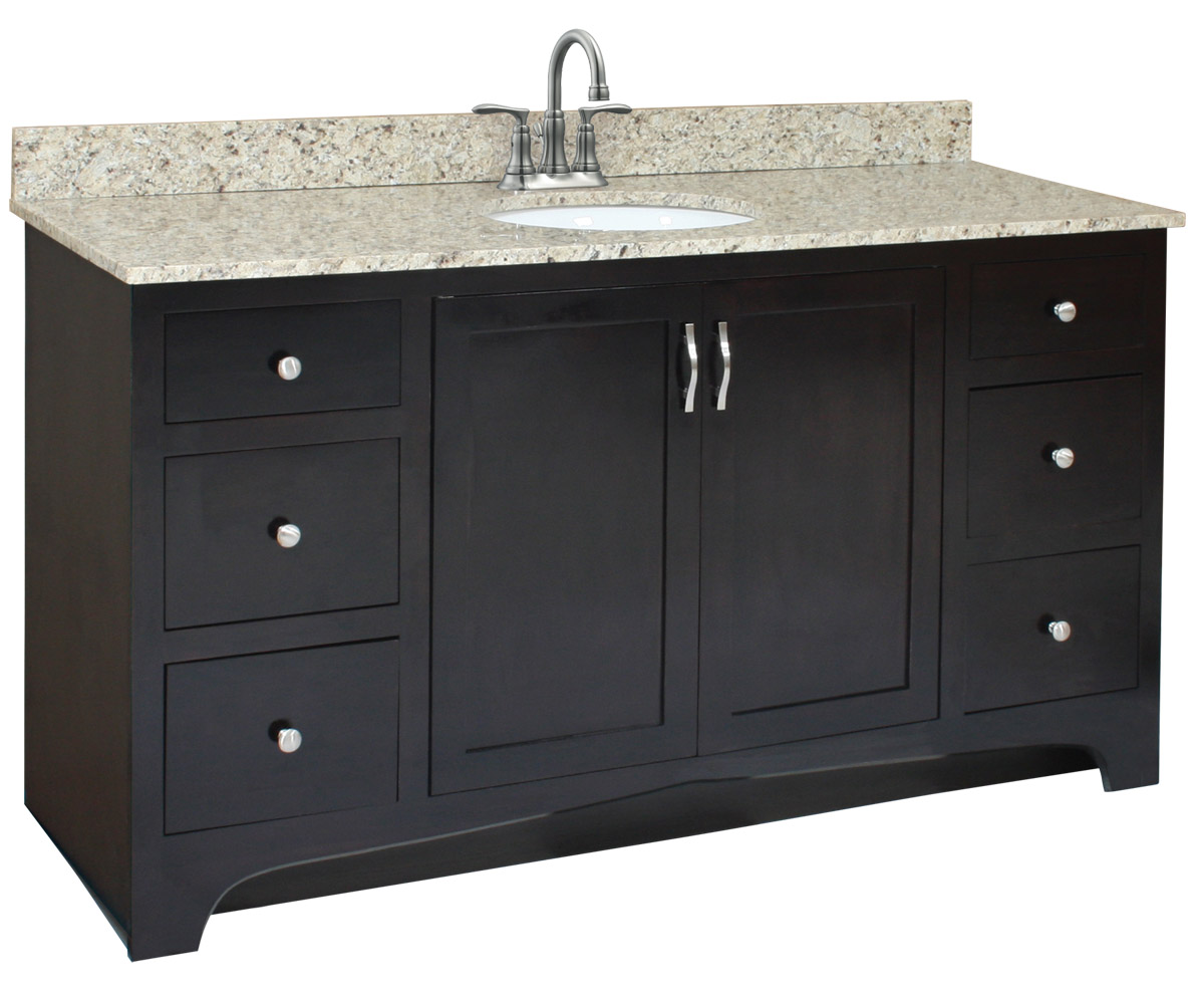 Design House 539635 Ventura Espresso Vanity Cabinet with 2-Doors and 4-Drawers 48-Inches by 33.5-Inches
