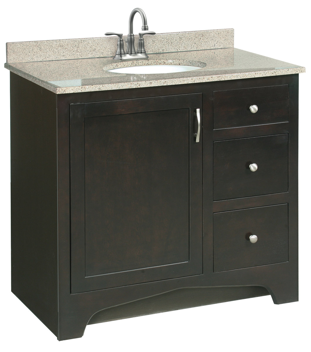Design House 541284 Ventura Espresso Vanity Cabinet with 1-Door and 2-Drawers 36-Inches by 33.5-Inches