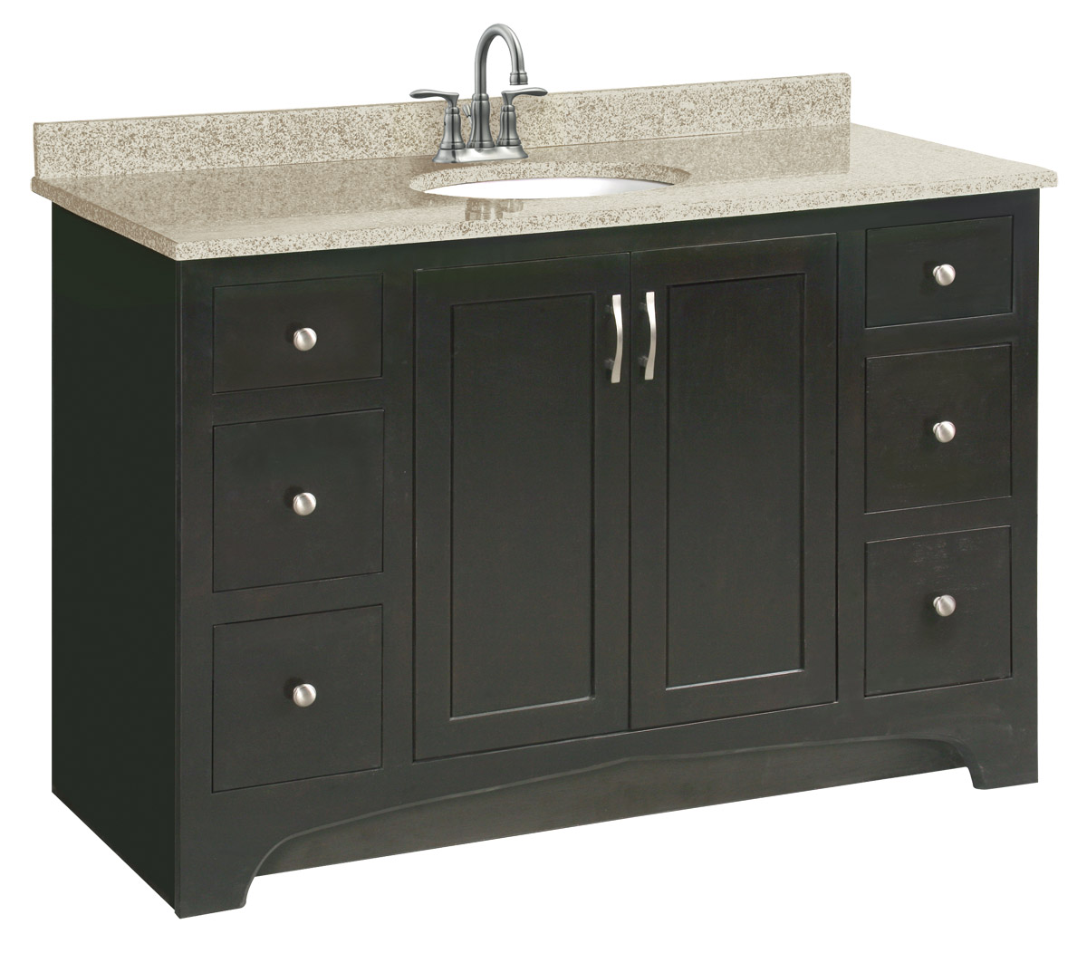 Design House 539627 Ventura Espresso Vanity Cabinet with 2-Doors and 4-Drawers 48-Inches by 33.5-Inches