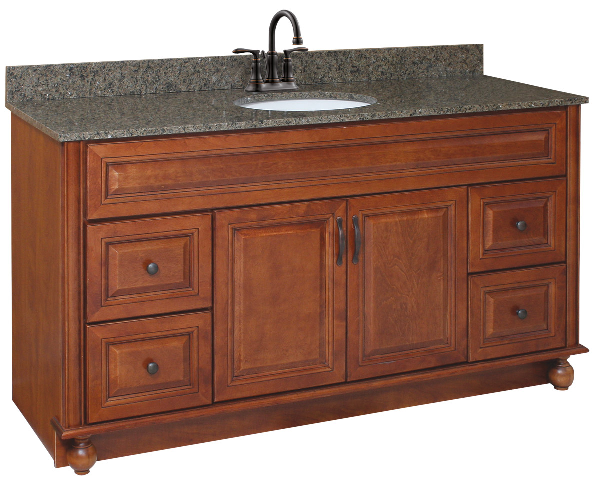 Design House 538579 Montclair Chestnut Glaze Vanity Cabinet with 2-Doors and 4-Drawers 60-Inches by 21-Inches