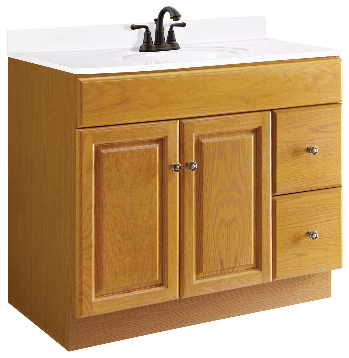 Design House 545178 Claremont Honey Oak Vanity Cabinet with 2-Doors and 2-Drawers 36-Inches by 18-Inches by 31.5-Inches