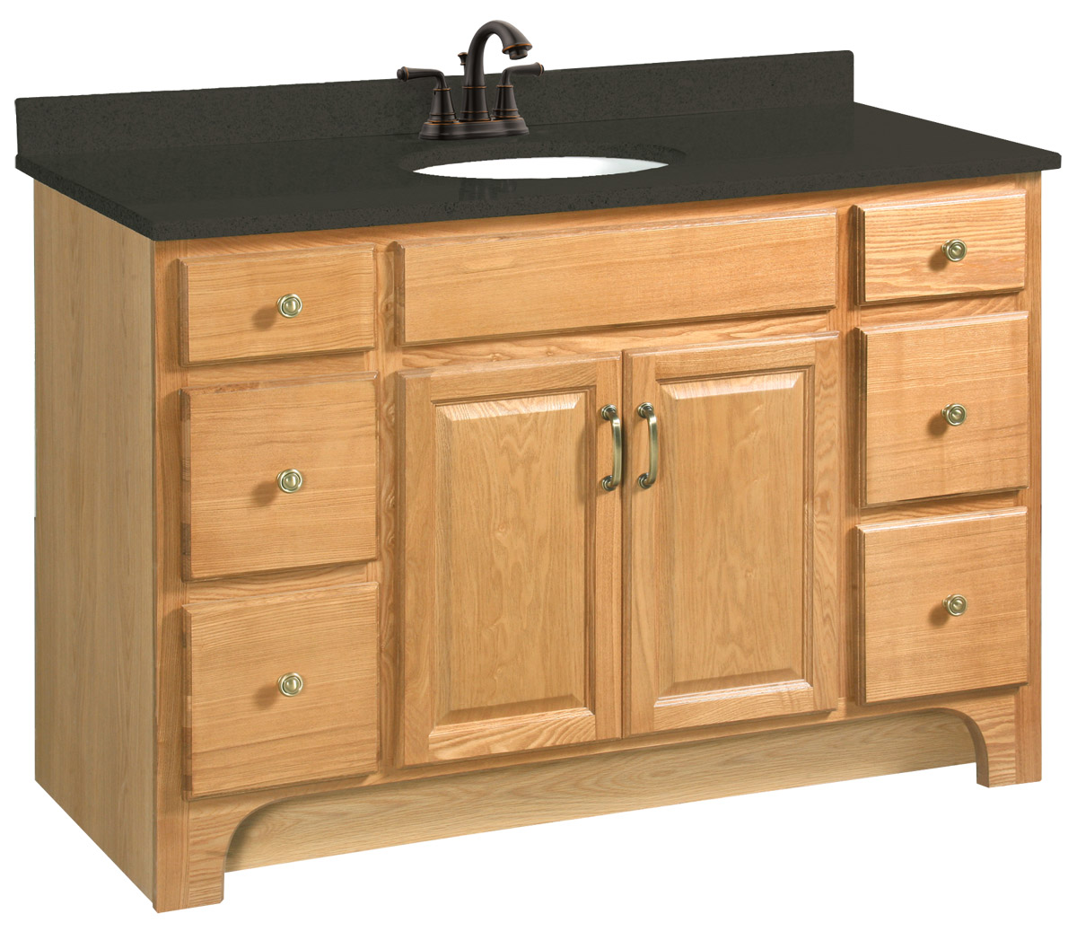 Design House 530410 Richland Nutmeg Oak Vanity Cabinet with 2-Doors and 4-Drawers 48-Inches by 33.5-Inches
