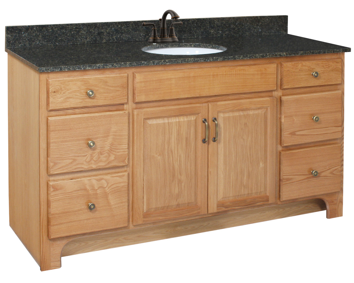 Design House 530436 Richland Nutmeg Oak Vanity Cabinet with 2-Doors and 4-Drawers 60-Inches by 33.5-Inches