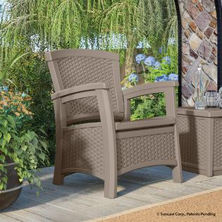 Suncast Elements Club Chair With Storage Dark Taupe Limited Availability