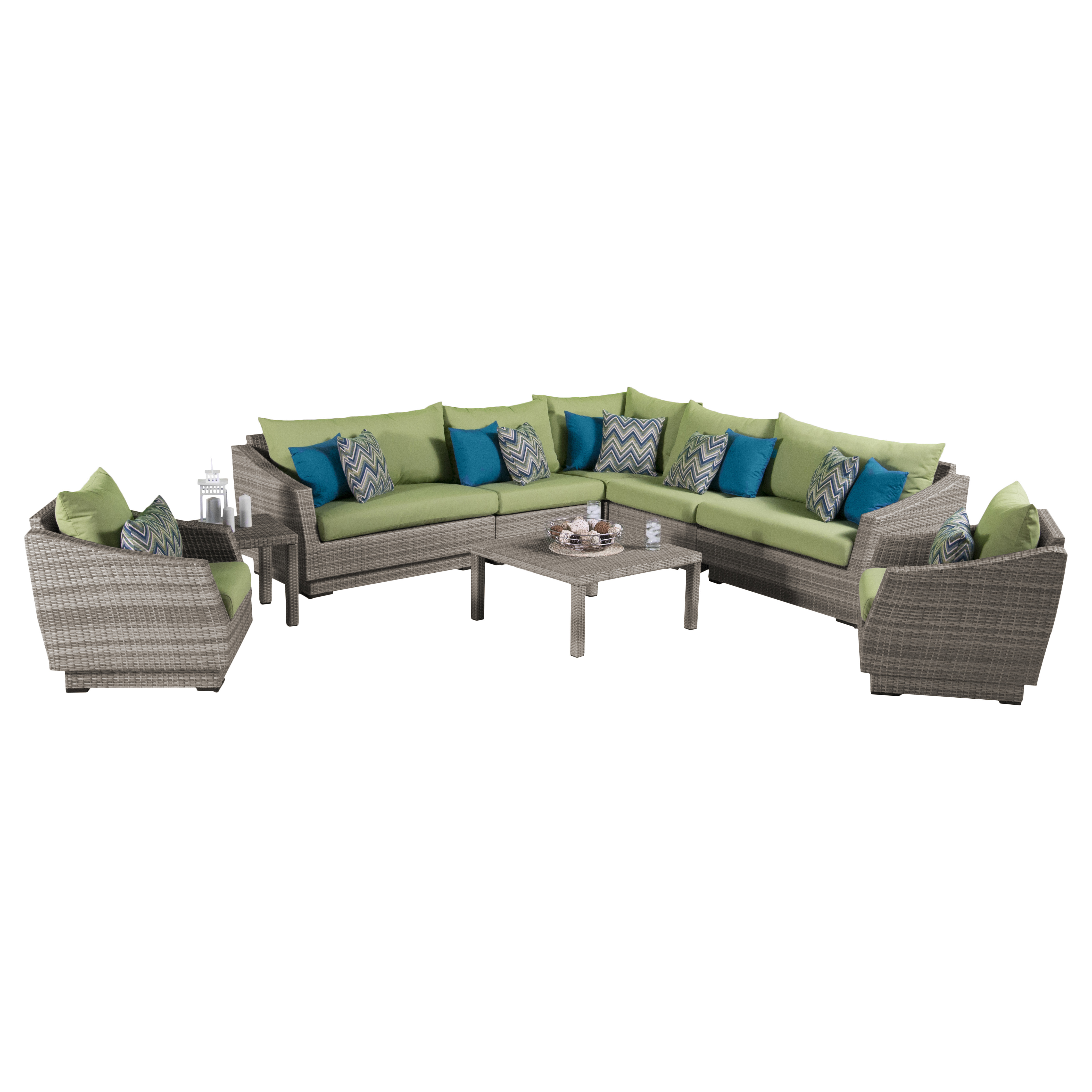 RST Brands Cannes™ 9pc Corner Sectional and Club Chair Seating Group with Ginkgo Green Cushions
