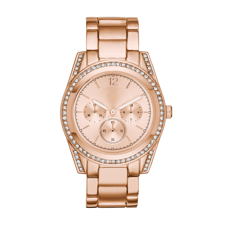 Jaclyn Smith Ladies 3-Eye Sunray Rose Gold Bracelet Watch