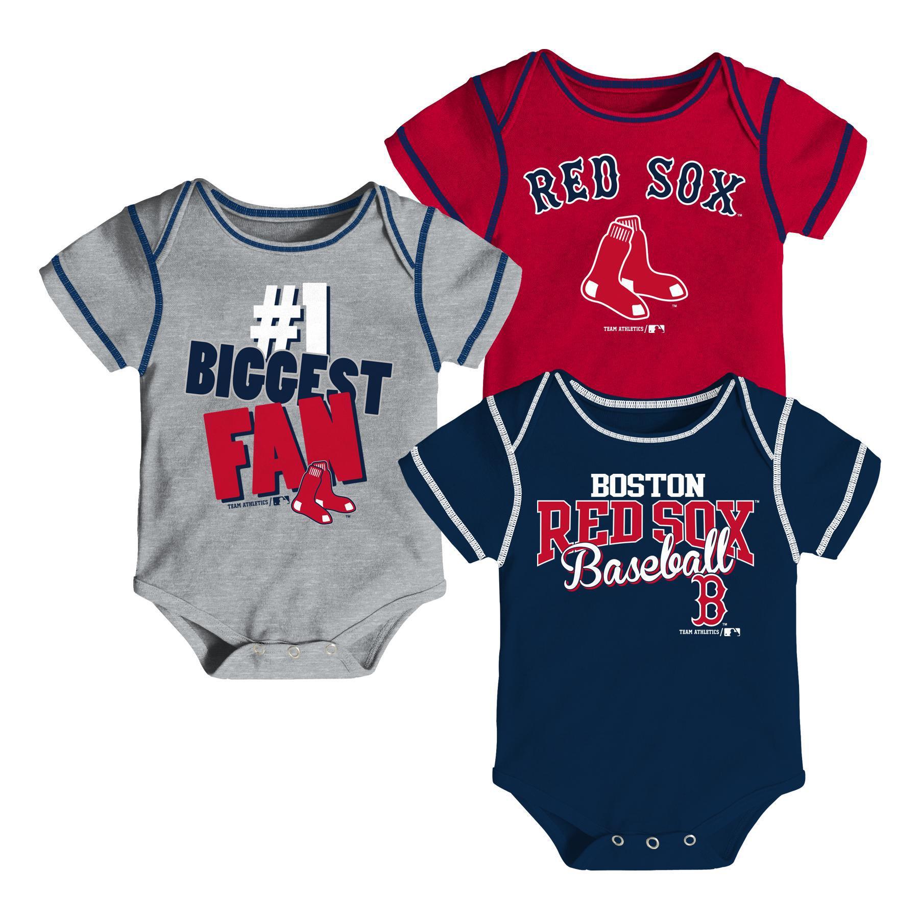 MLB Newborn & Infant Boys' 3-Pack Bodysuits - Boston Red Sox PartNumber: 046VA95229012P MfgPartNumber: 32FB1-12