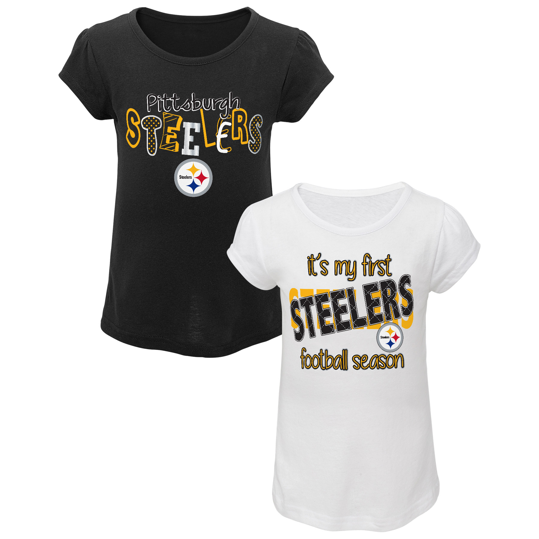 NFL Toddler Girls' 2-Pack Graphic T-shirts - Pittsburgh Steelers PartNumber: 046VA99079512P MfgPartNumber: 14AUZ-05