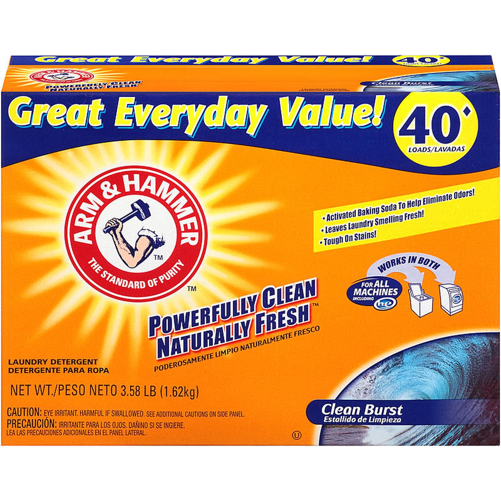 Is arm and hammer powder laundry detergent he - Arm Hammer Clean Burst Powder Laundry Detergent 3 58 Lb 40 Loads Food Grocery Laundry Care High Efficiency Detergents
