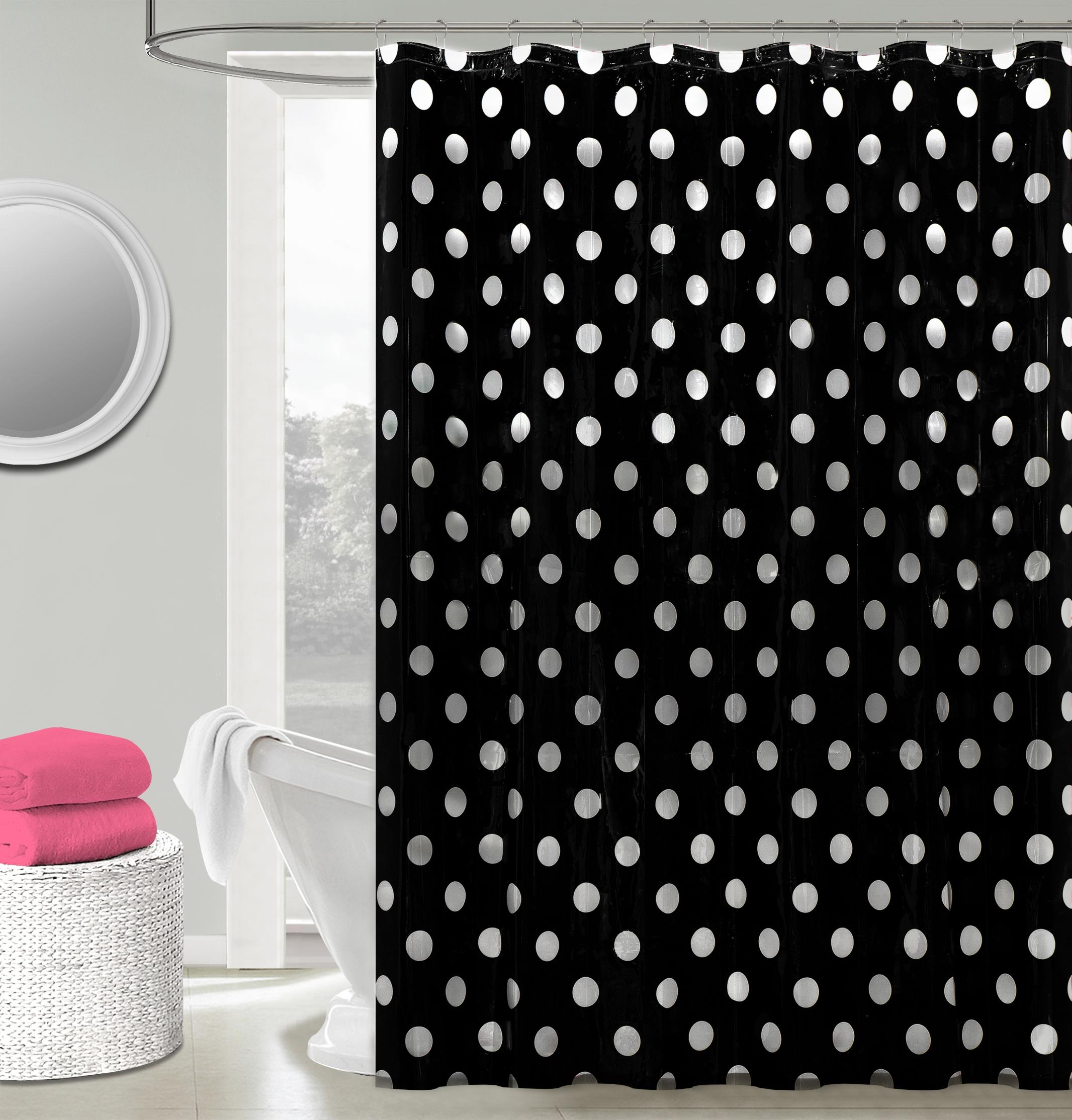 Charmant Peva Polka Dots Shower Curtain Set   Black