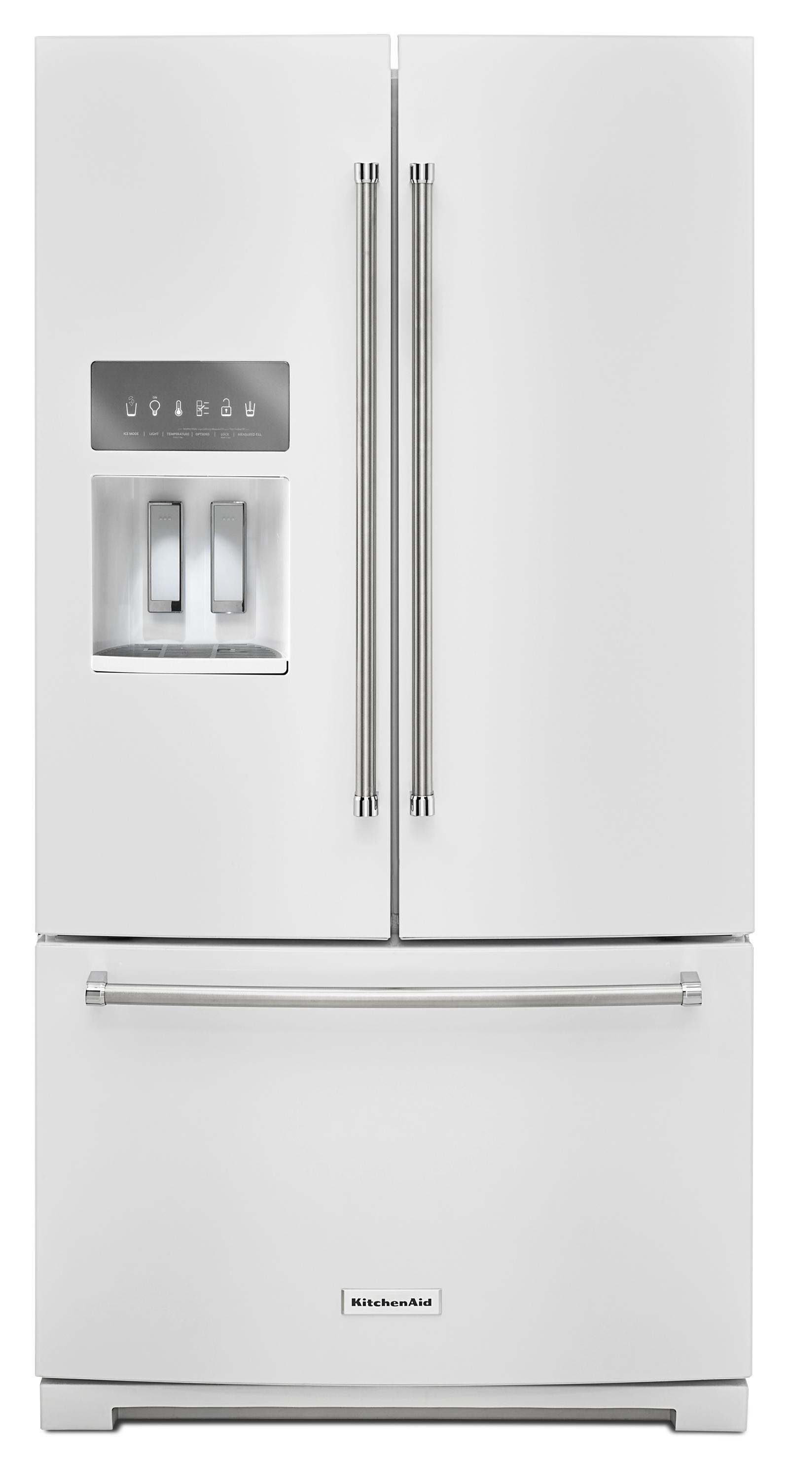 "KitchenAid 26.8 cu. ft. 36"" Width Standard Depth French Door Refrigerator - White PartNumber: 04608501000P KsnValue: 04608501000 MfgPartNumber: KRFF507EWH"