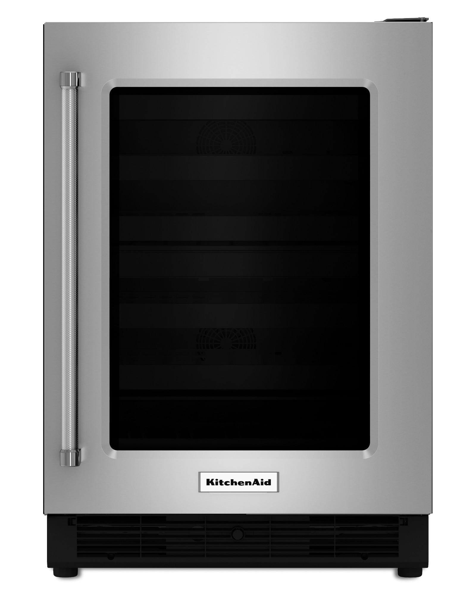 KitchenAid KURR204ESB 5.1 cu. ft. Right Swing Undercounter Refrigerator w/ Glass Door - Stainless Steel