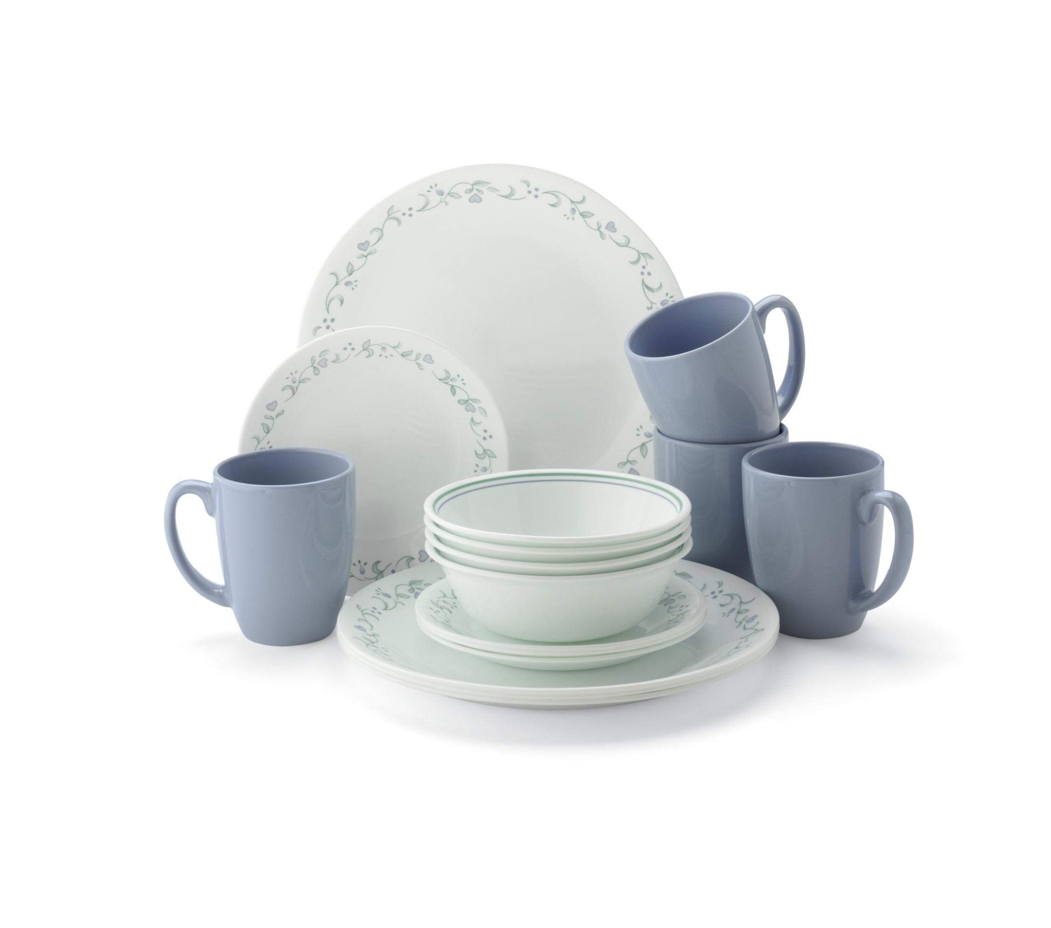 Lovely Corelle Livingware 16 Piece Dinnerware Set   Country Cottage
