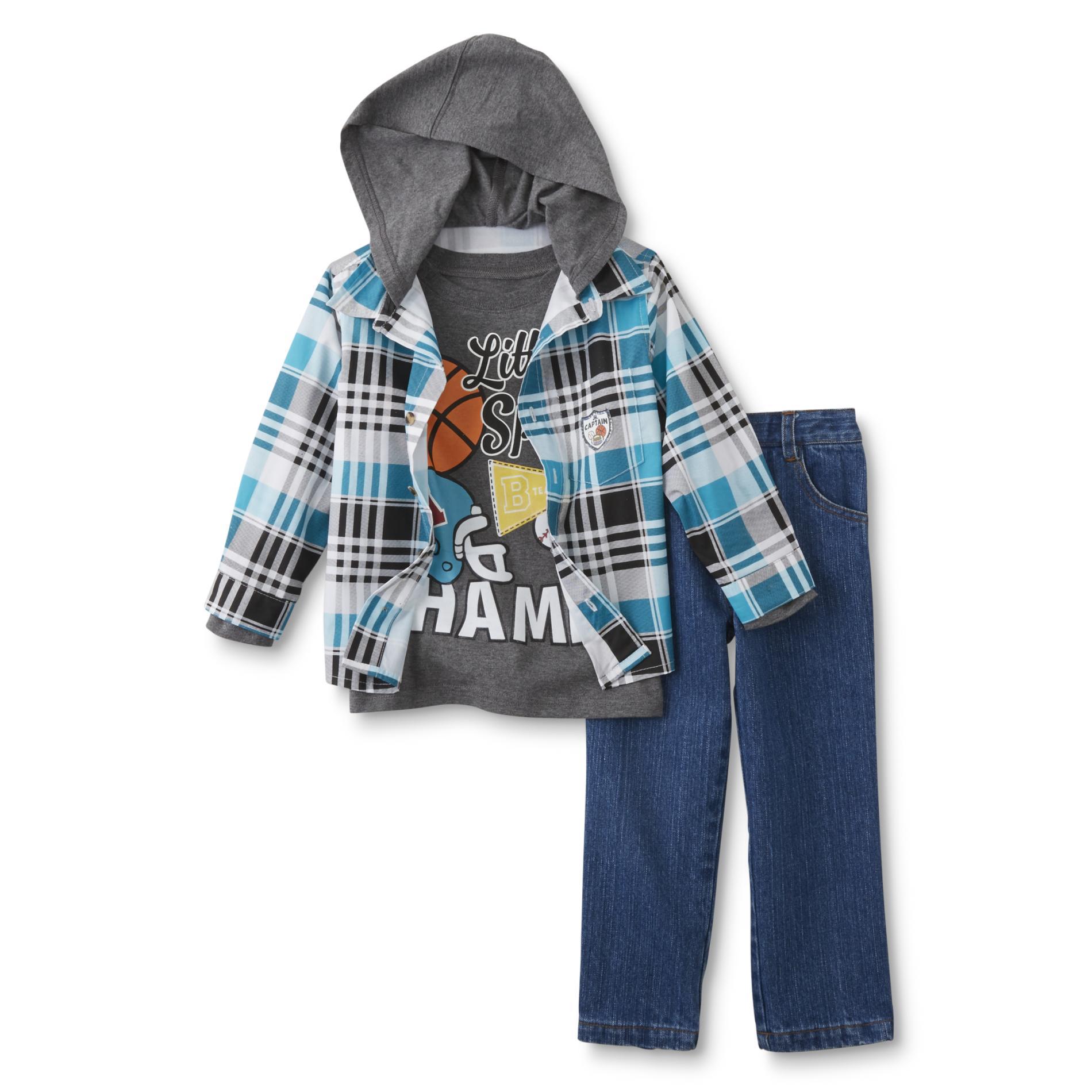 Infant & Toddler Boy's Shirt, T-Shirt & Jeans - Plaid