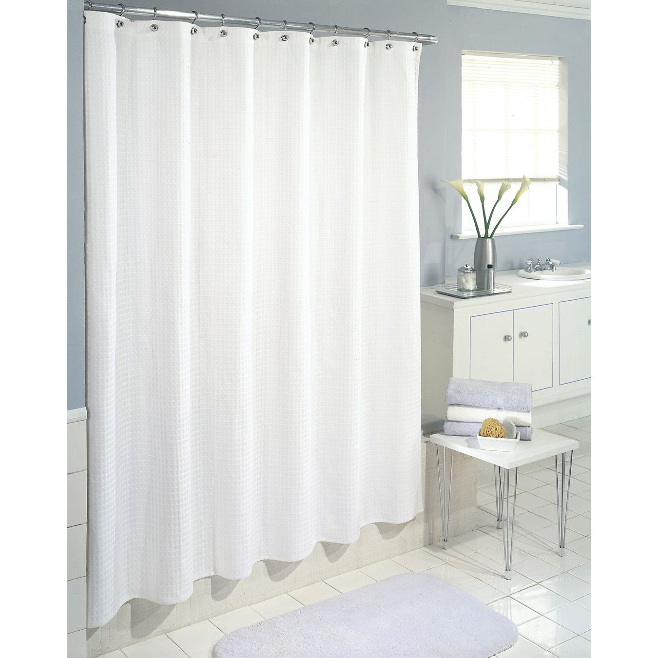 white shower curtain bathroom. Colormate Waffle Wave Fabric Shower Curtain - White | Shop Your Way: Online Shopping \u0026 Earn Points On Tools, Appliances, Electronics More Bathroom Way
