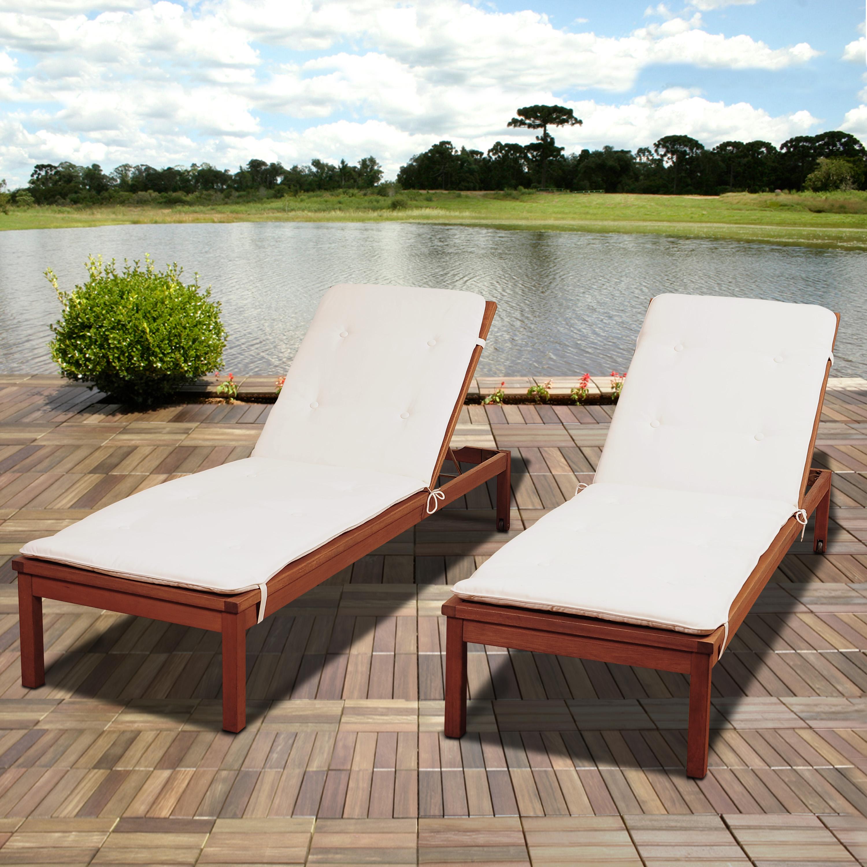 Amazonia Amazonia Andorra 2 Piece Eucalyptus Wheel Lounger Set with White Cushions