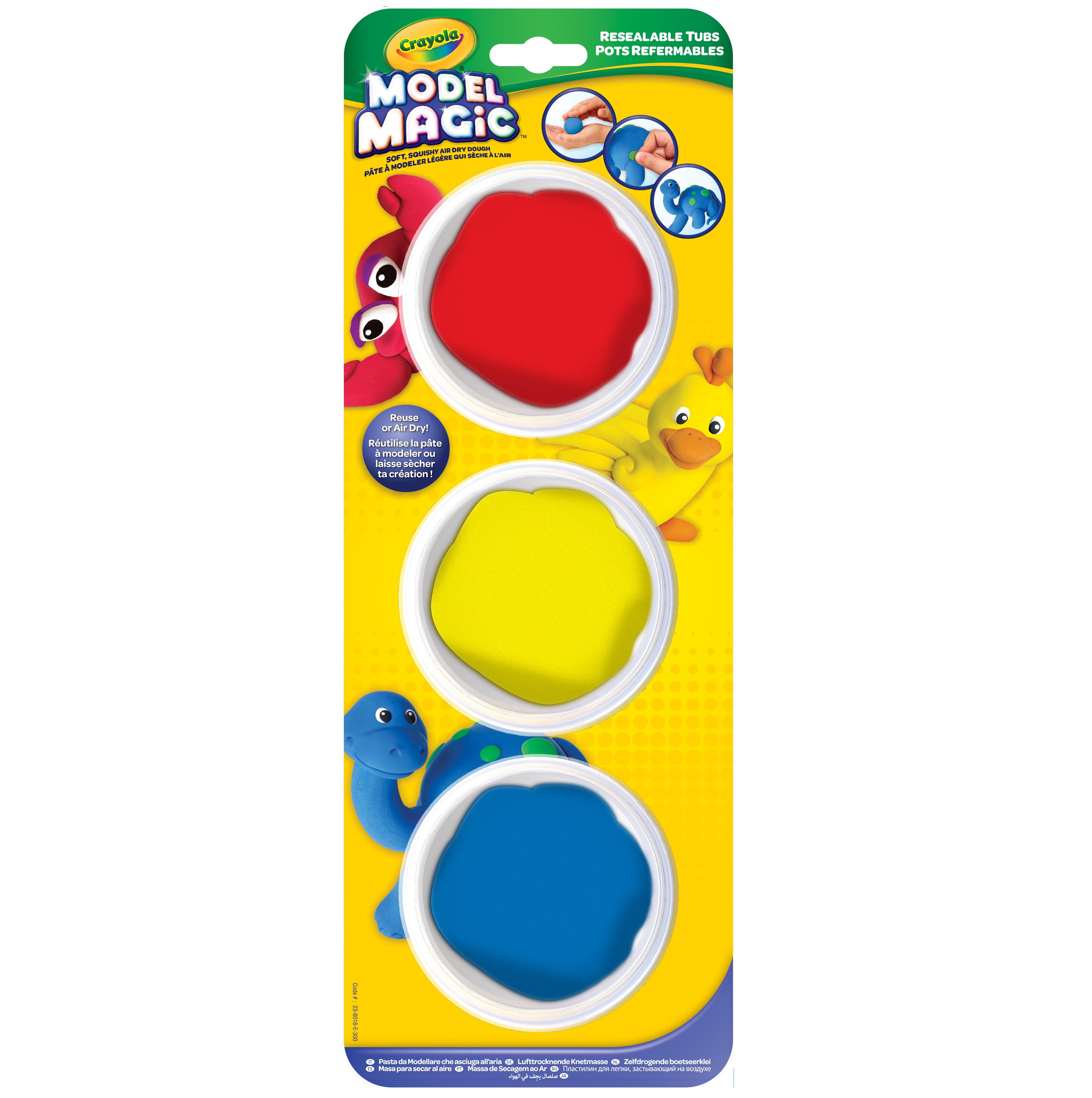 Crayola Model Magic, Primary Colors, 3 - 2.25 oz (63 g) jars [6.75 oz (191 g)]