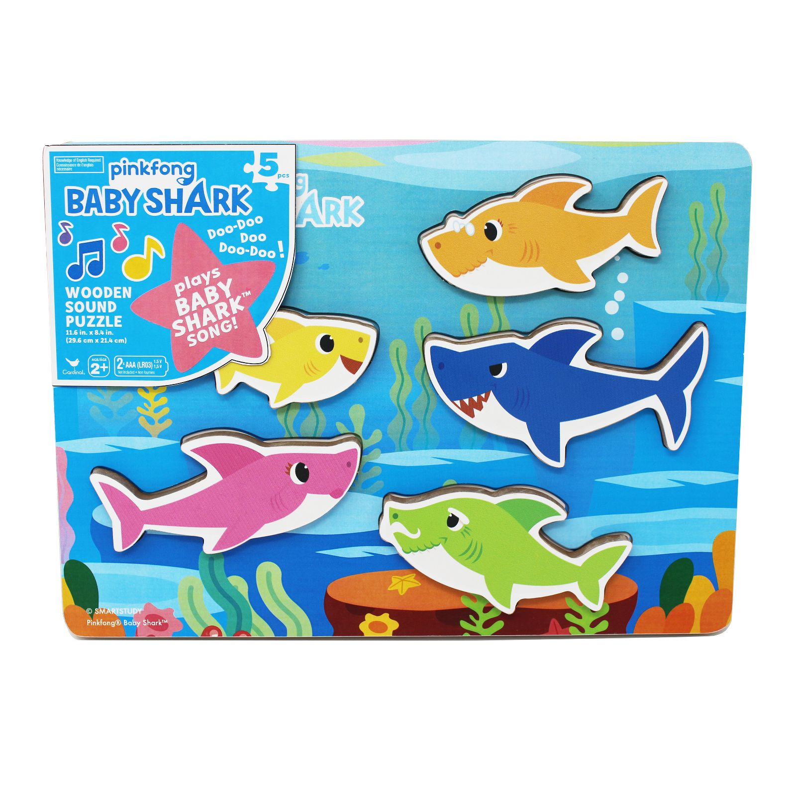 Image of Cardinal Games Pinkfong Baby Shark Chunky Wood Sound Puzzle - Plays Baby Shark Song