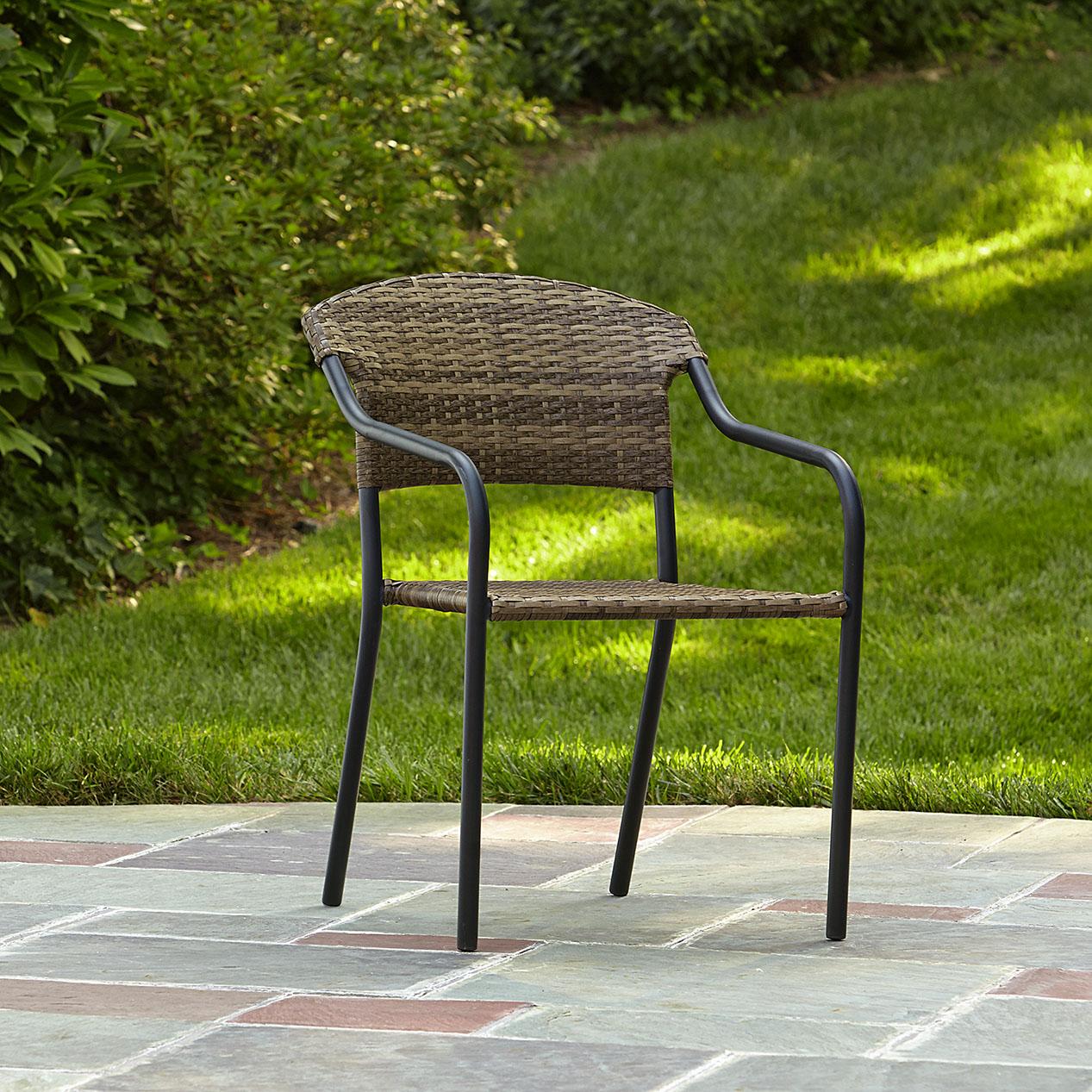 essential garden steel stack wicker chair - outdoor living - patio furniture