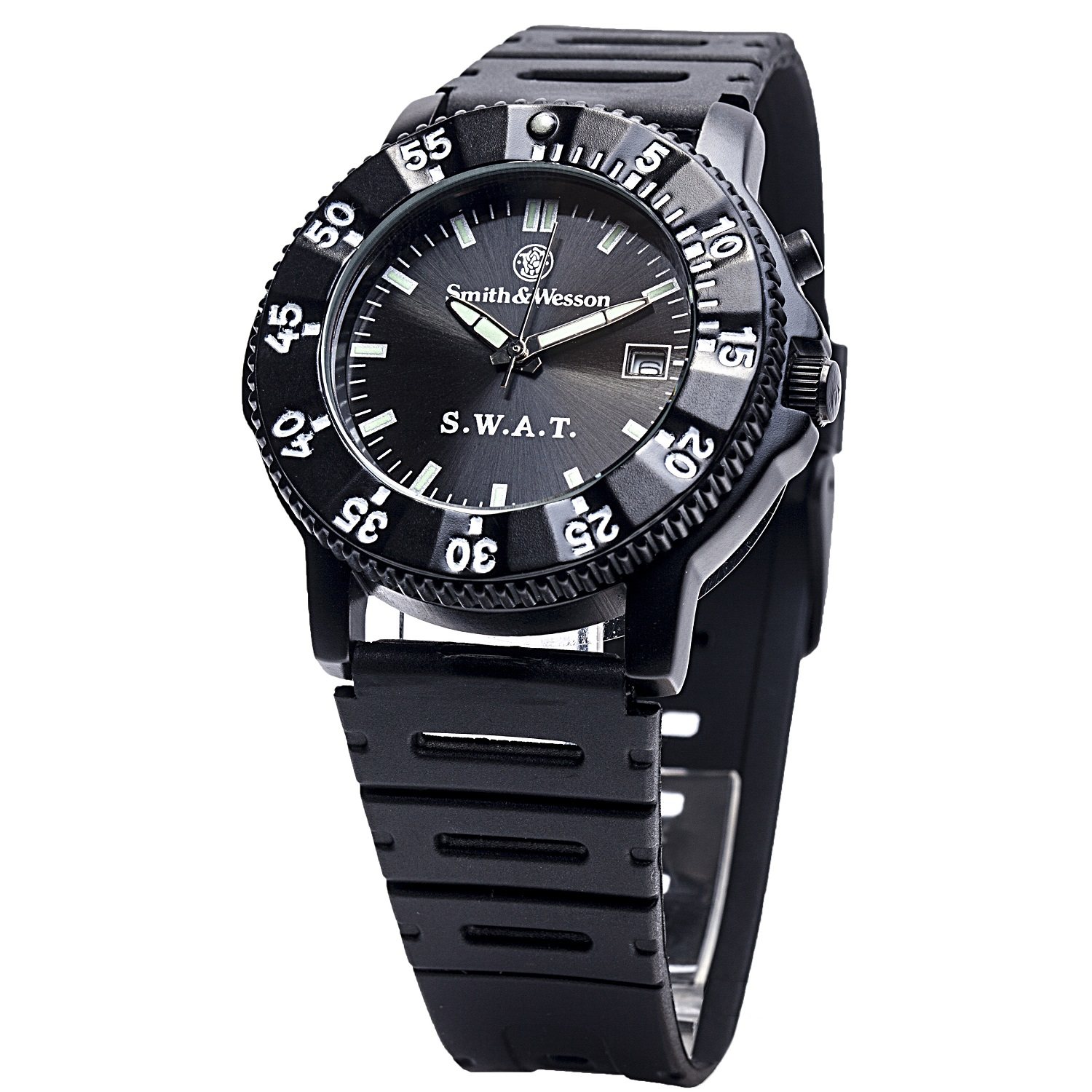Smith & Wesson Men's SWAT Watch with Black Rubber Strap