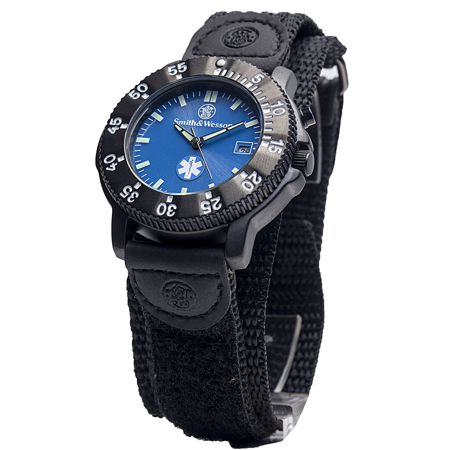 Smith & Wesson EMT Watch with Black Nylon Strap Blue Face