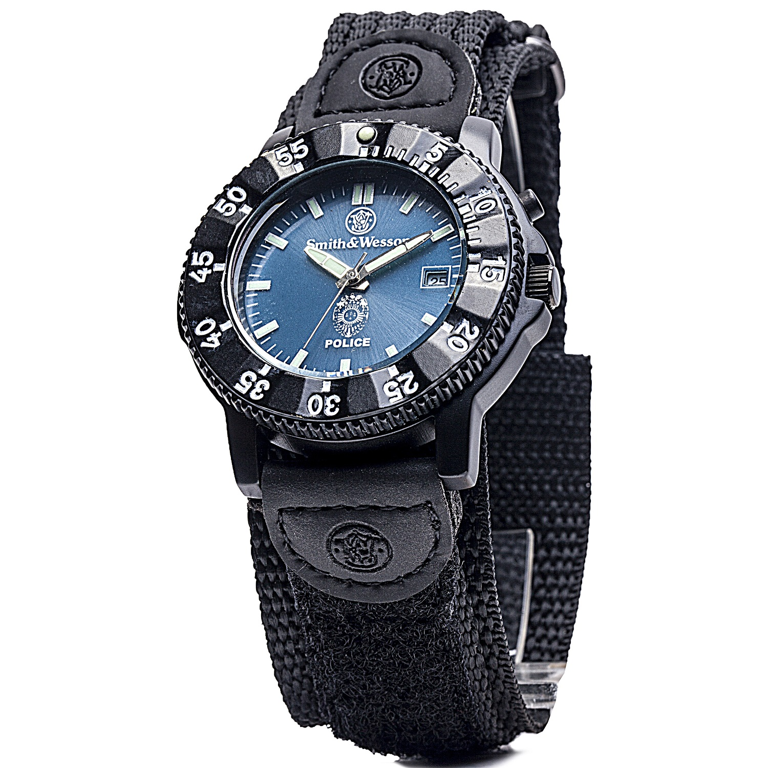 Smith & Wesson Police Watch Blue Dial Black Nylon Strap