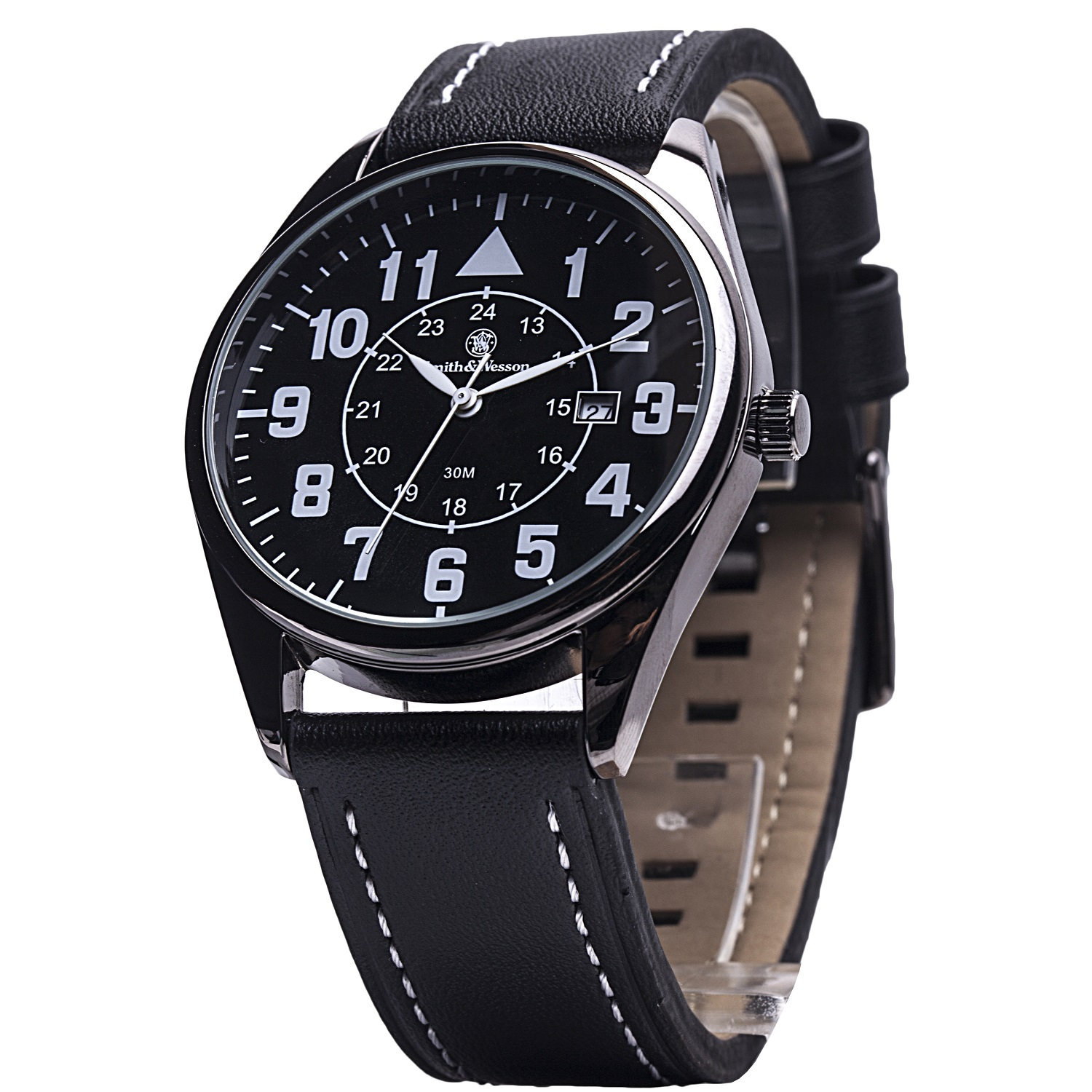 Smith & Wesson Civilian Watch with Black Leather Strap