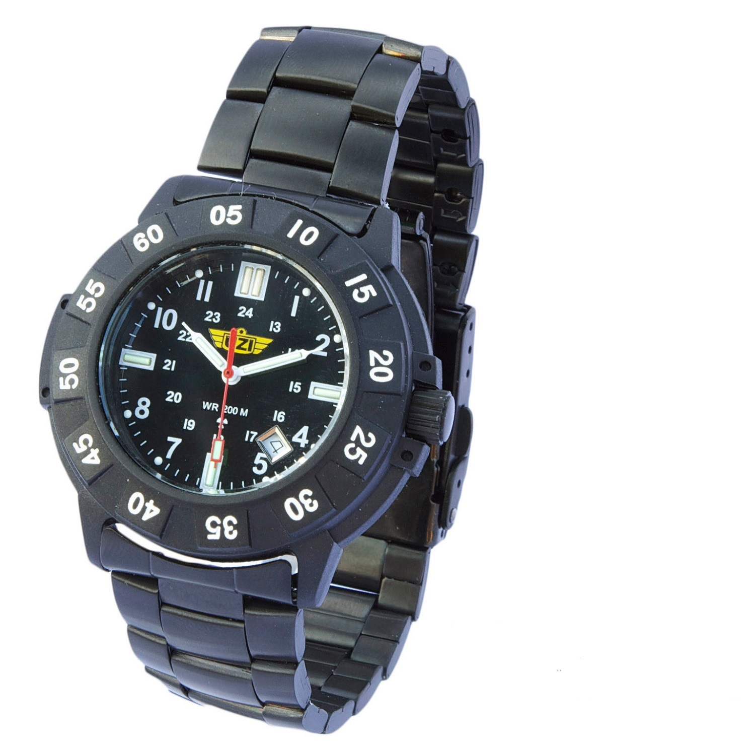 Uzi Protector Tritium H3 Watch with Metal Strap Black