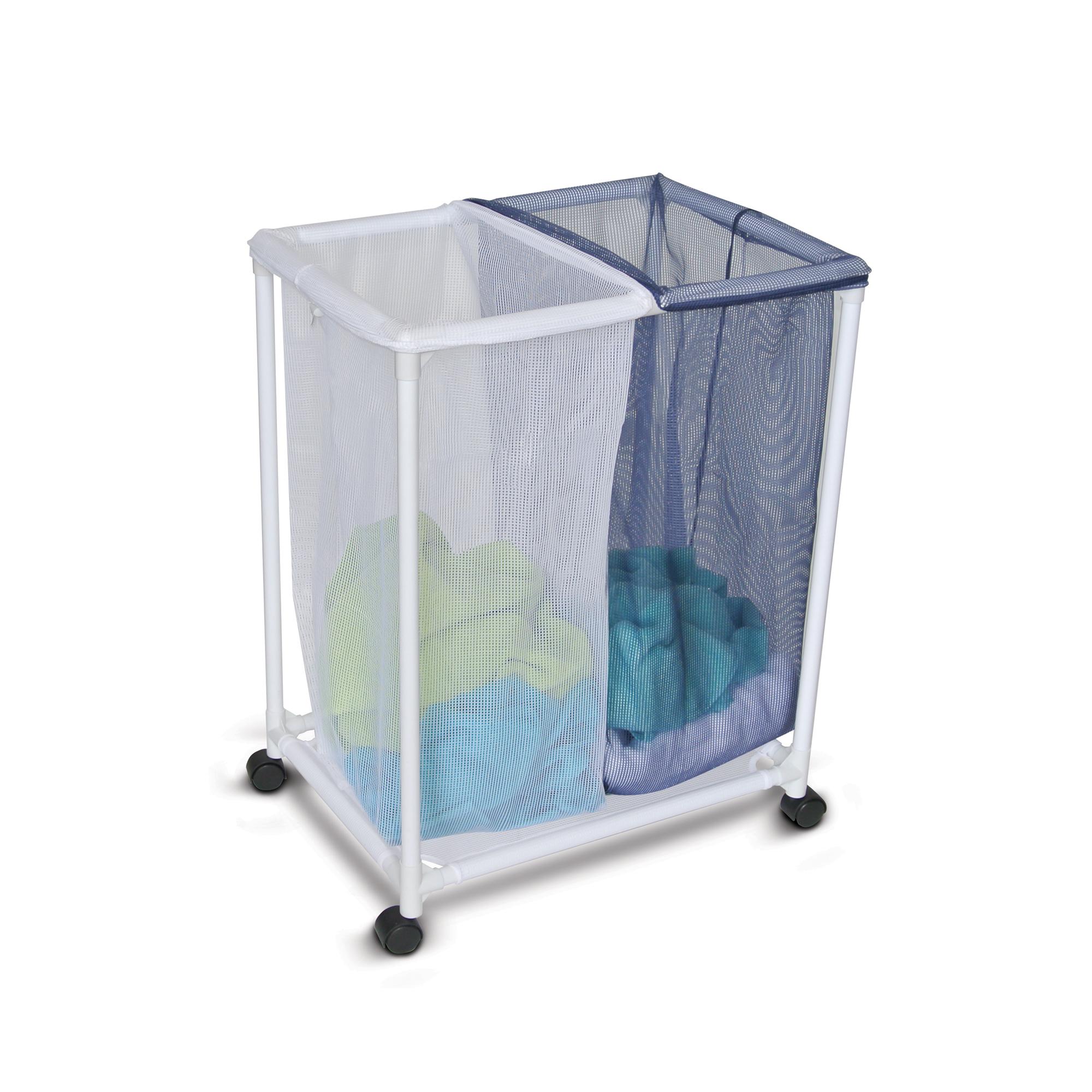 Homz Double Mesh Bag Laundry Sorter,  White