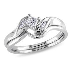 0.24 Cttw. Princess and Parallel Baguette 14k White Gold Diamond Bridal Ring Set (G-H I2-I3) at Kmart.com