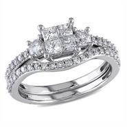 1 Cttw. Princess and Round 14k White Gold Diamond Bridal Ring Set (G-H I2-I3) at Kmart.com